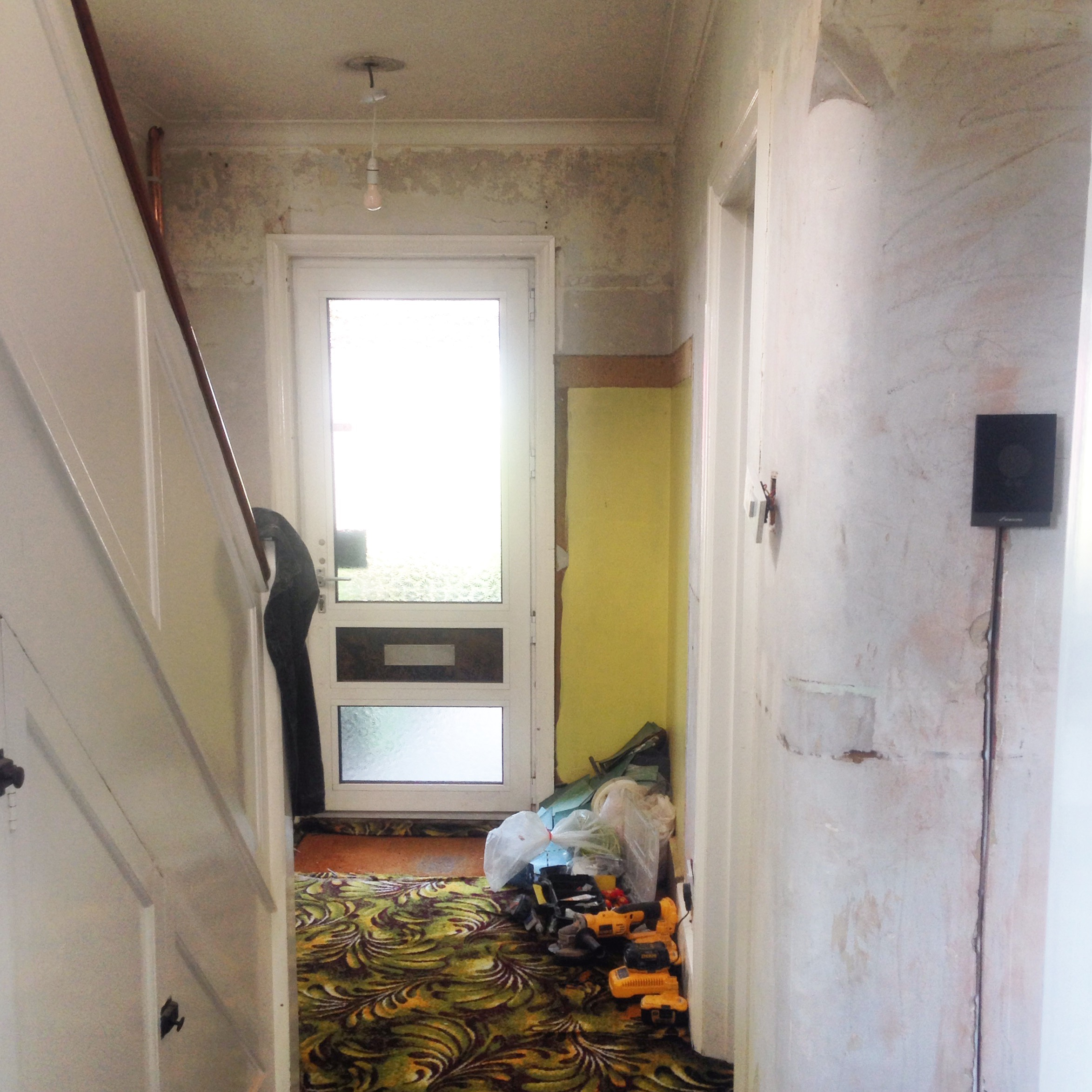 THIS SHOT WAS PRE PLASTERING OUR HALLWAY, MY GOD WHAT A MESS