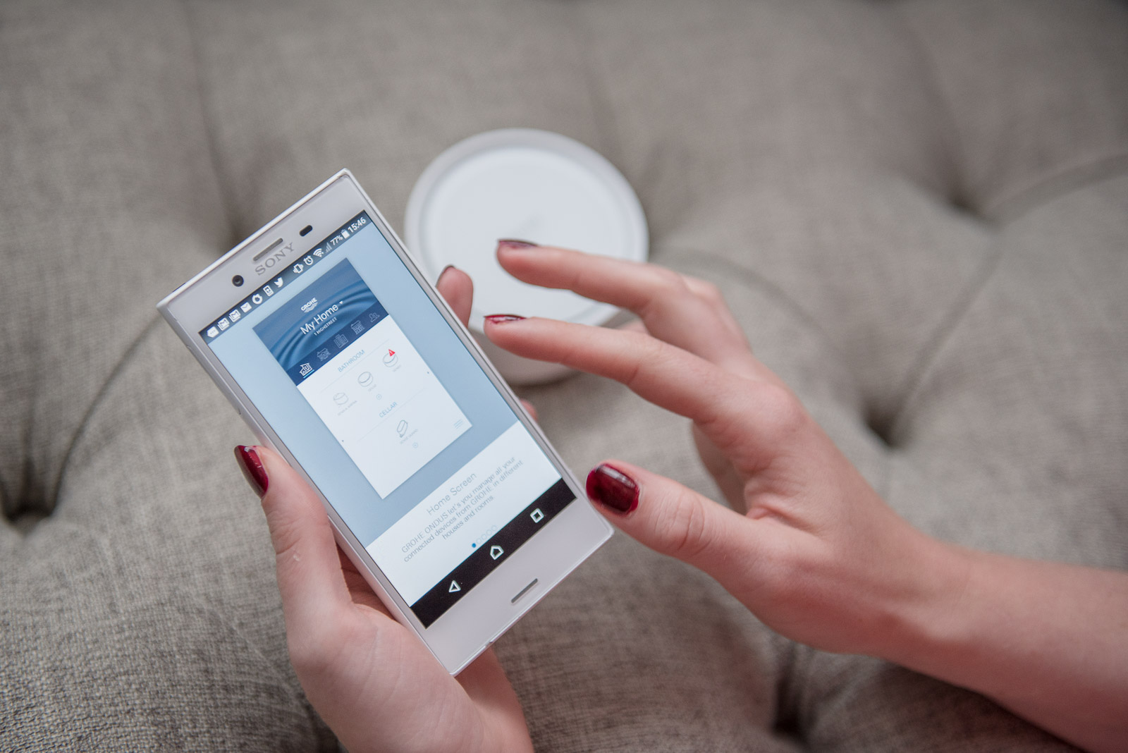 interior blogger talking about tech apps for the home - Grohe Sense