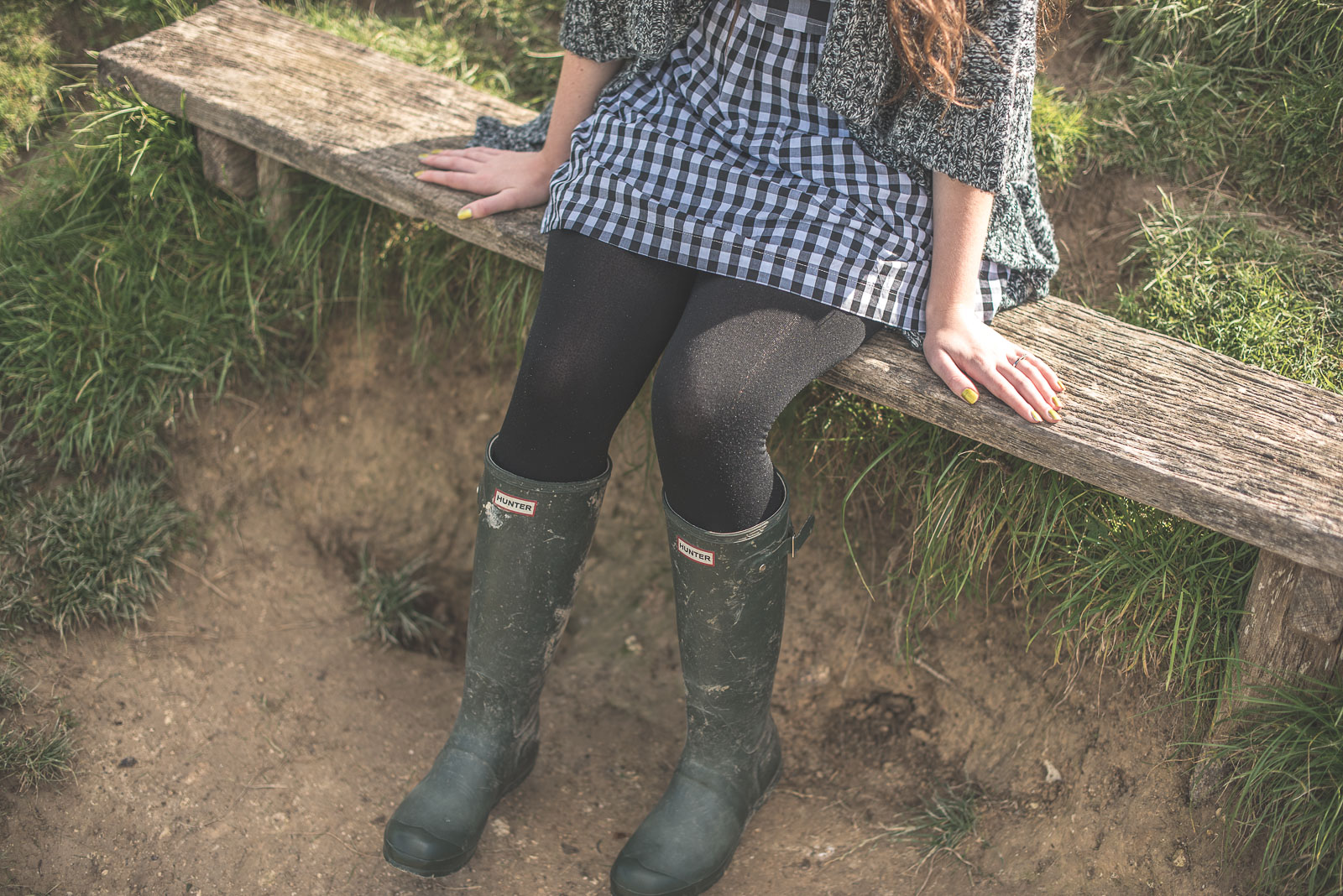 Gingham dress and wellies on a country walk