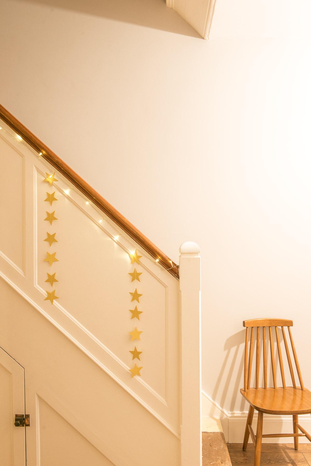 Christmas stair garland idea