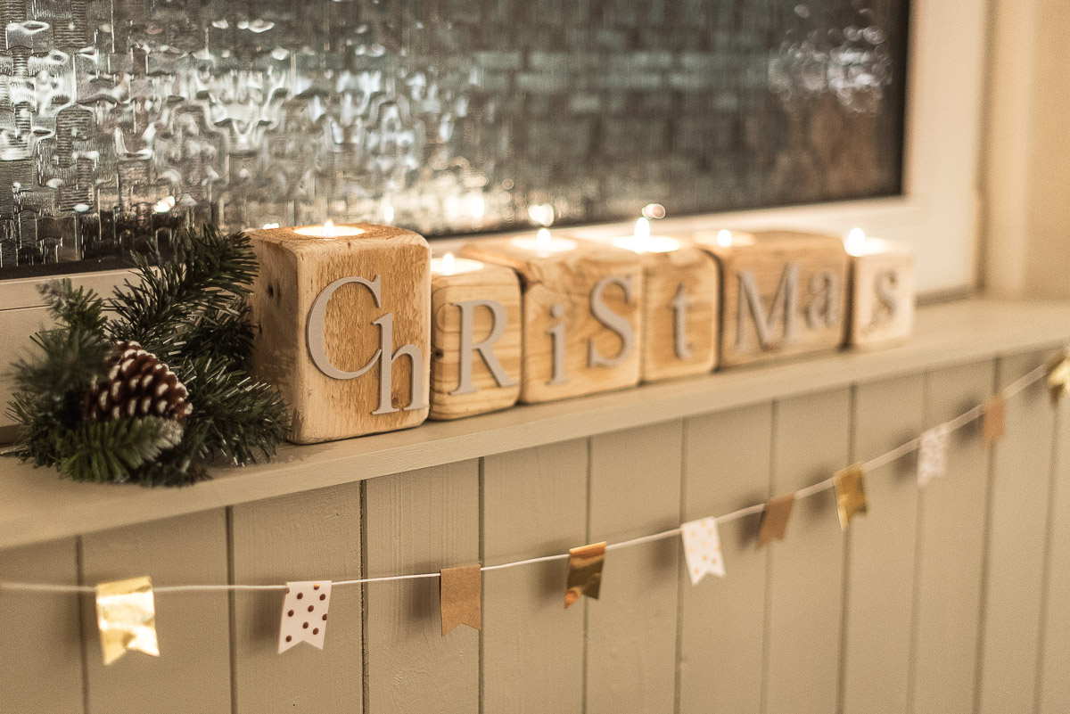 Christmas candle block decorations