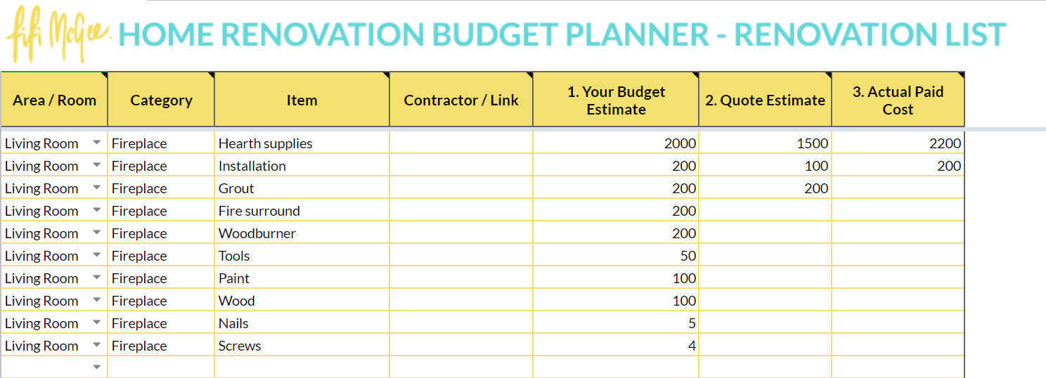 Home Renovation Budget Planner Fifi Mcgee Interiors Renovation Blog