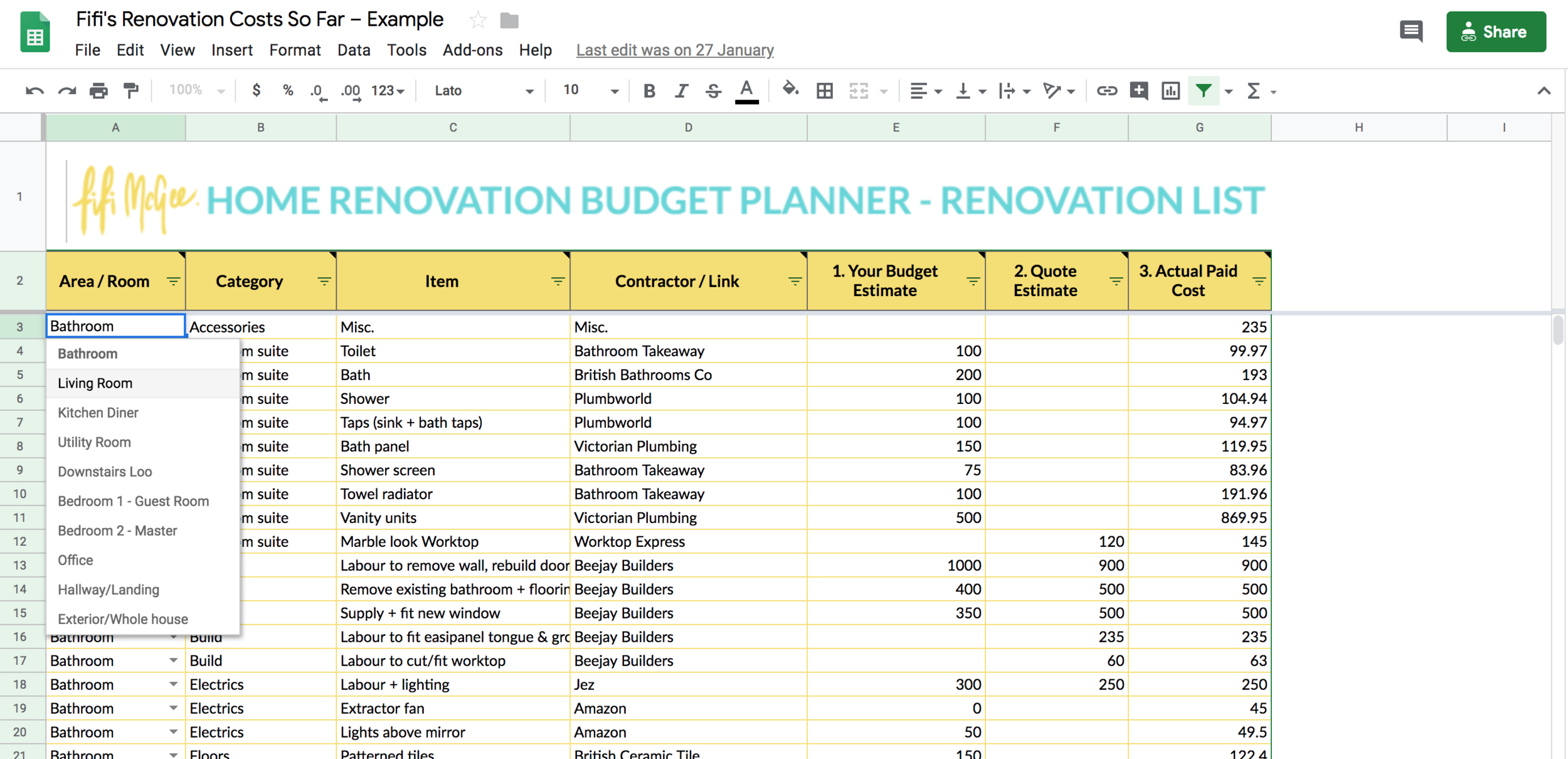 Home Renovation Budget Planner
