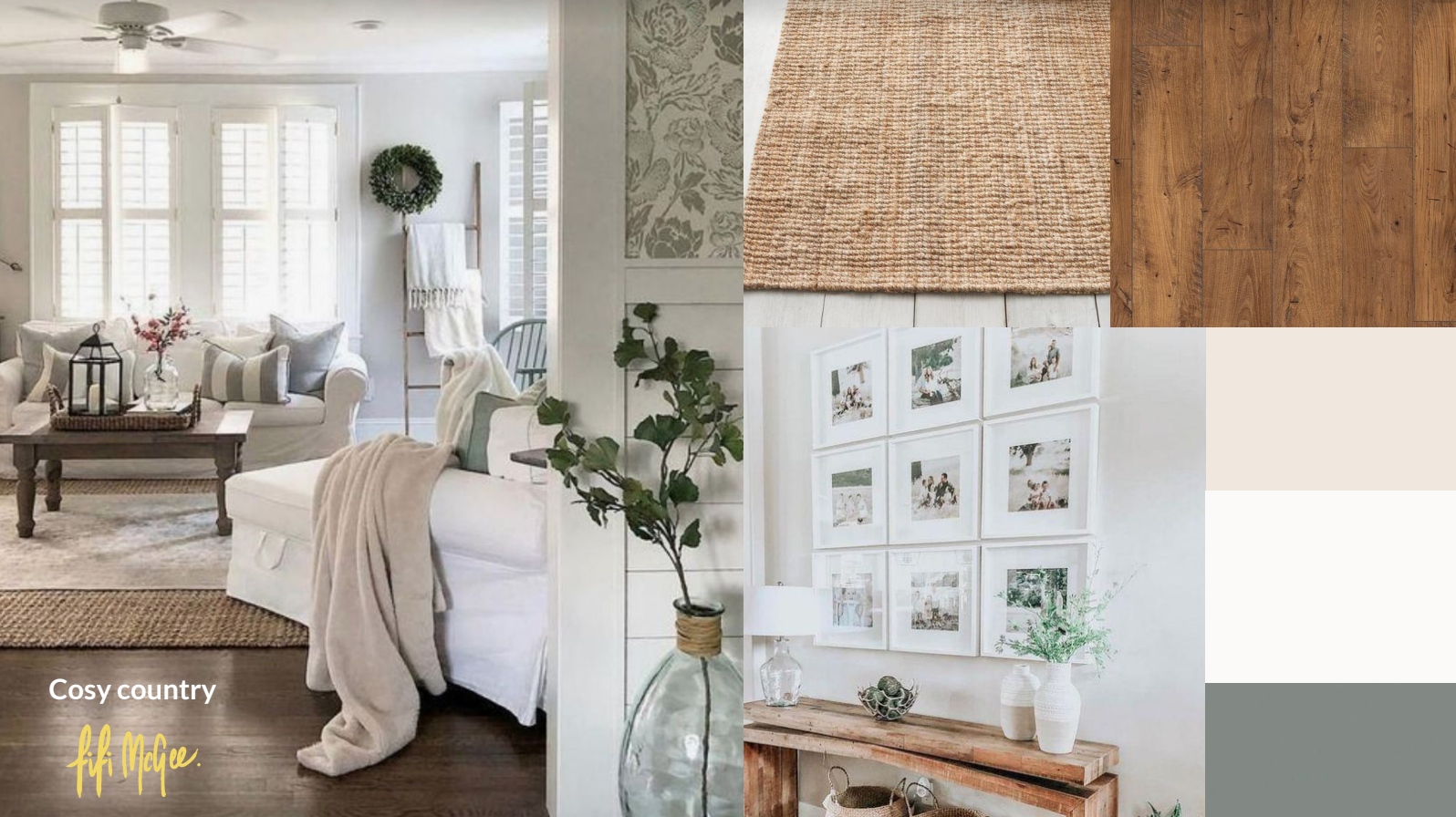 country living room mood board