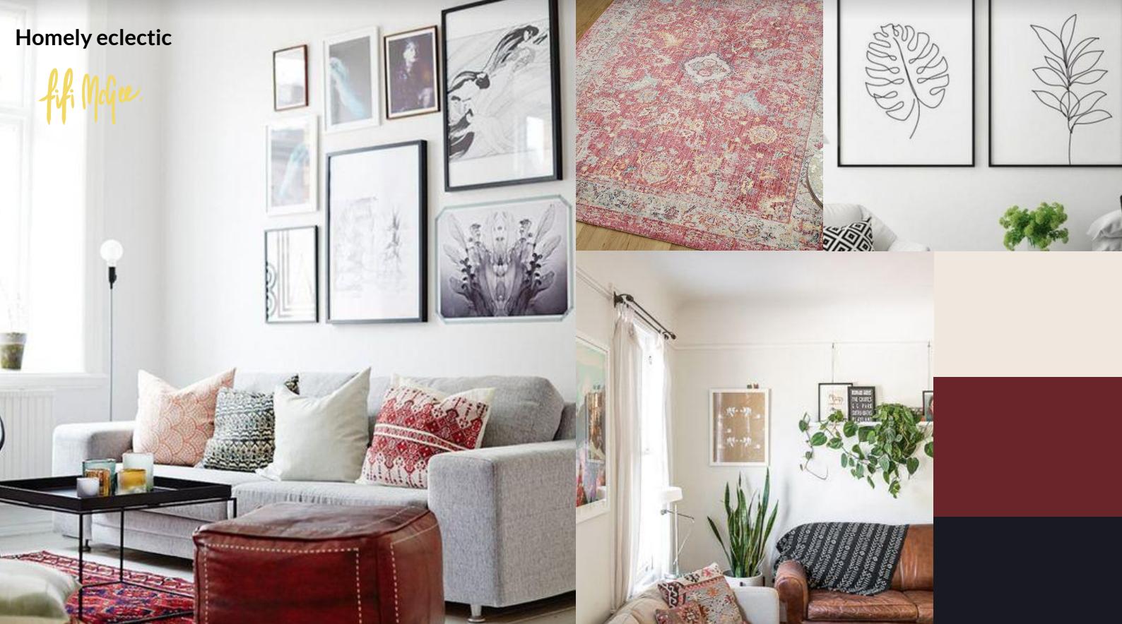 eclectic living room mood board