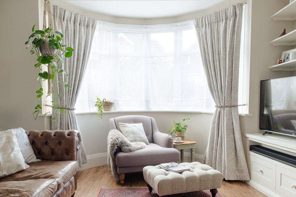 Our Bay Window Curtains Fifi Mcgee, Curtain Ideas For Bay Windows In Living Room