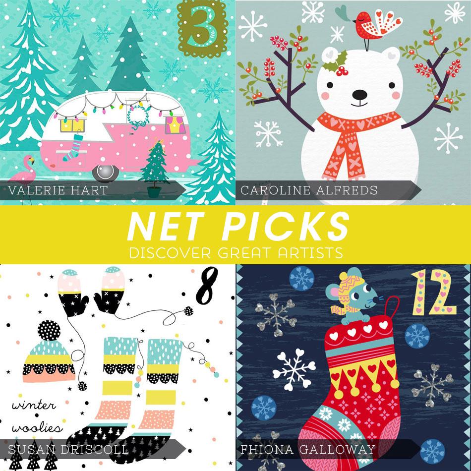 Net Picks - Discover Great Artists - Advent Calendar artists via Kat Uno's Design Blog
