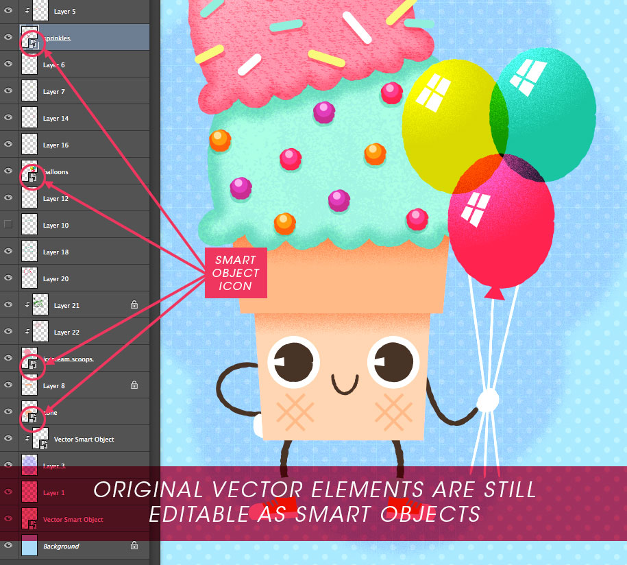 Importing Illustrator objects as smart objects will allow you to continue to edit while preserving the vector format