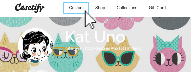 Look for the Custom button in Casetify's menu bar