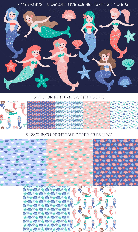 Mermaid clip art set by Kat Uno
