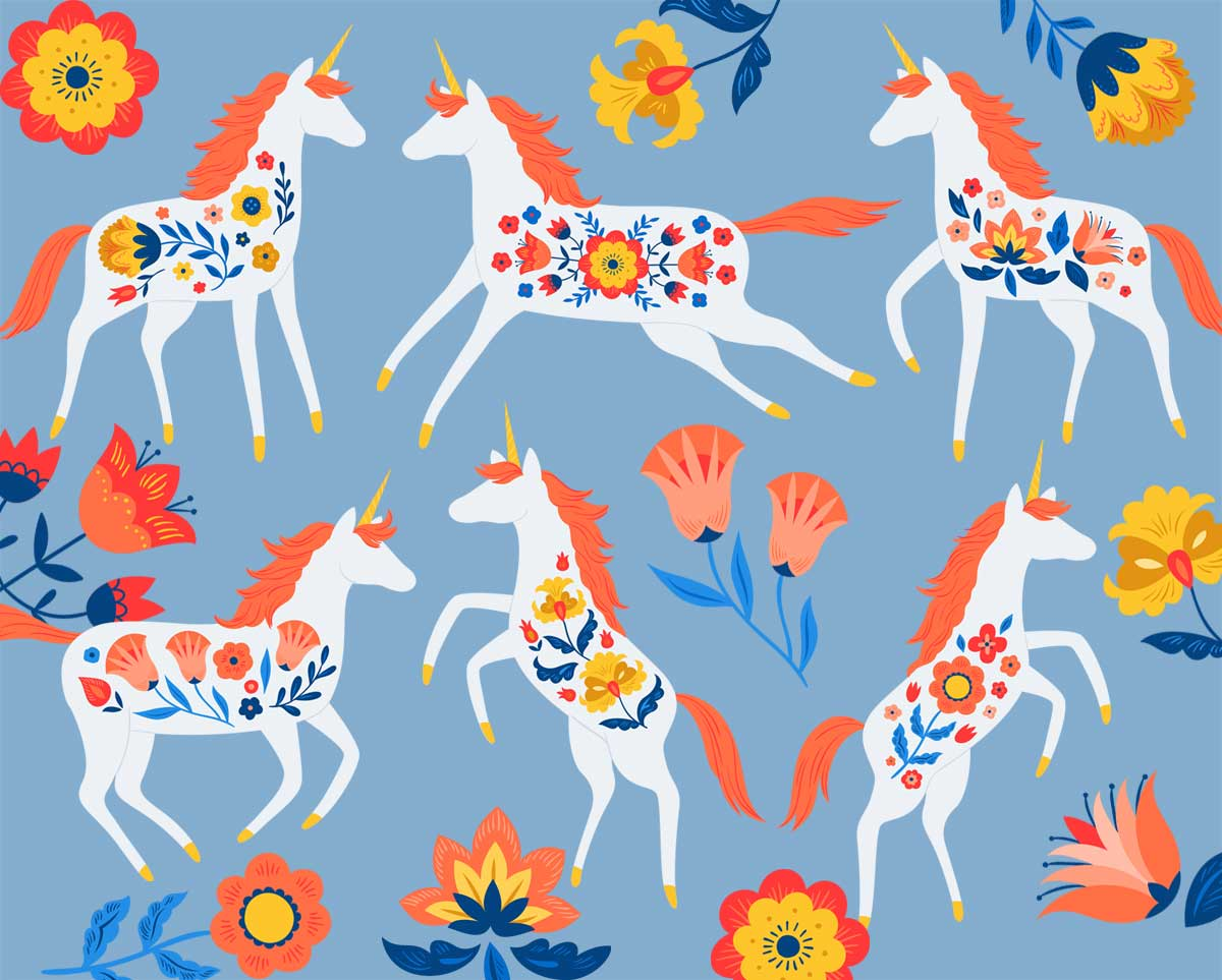 Scandinavian Folk Unicorn Clip Art Set in Warm brights