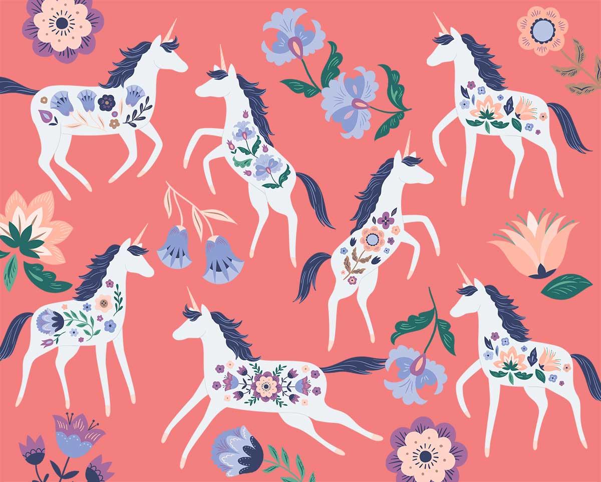 Scandinavian Folk Unicorn Clip Art set in Muted cools