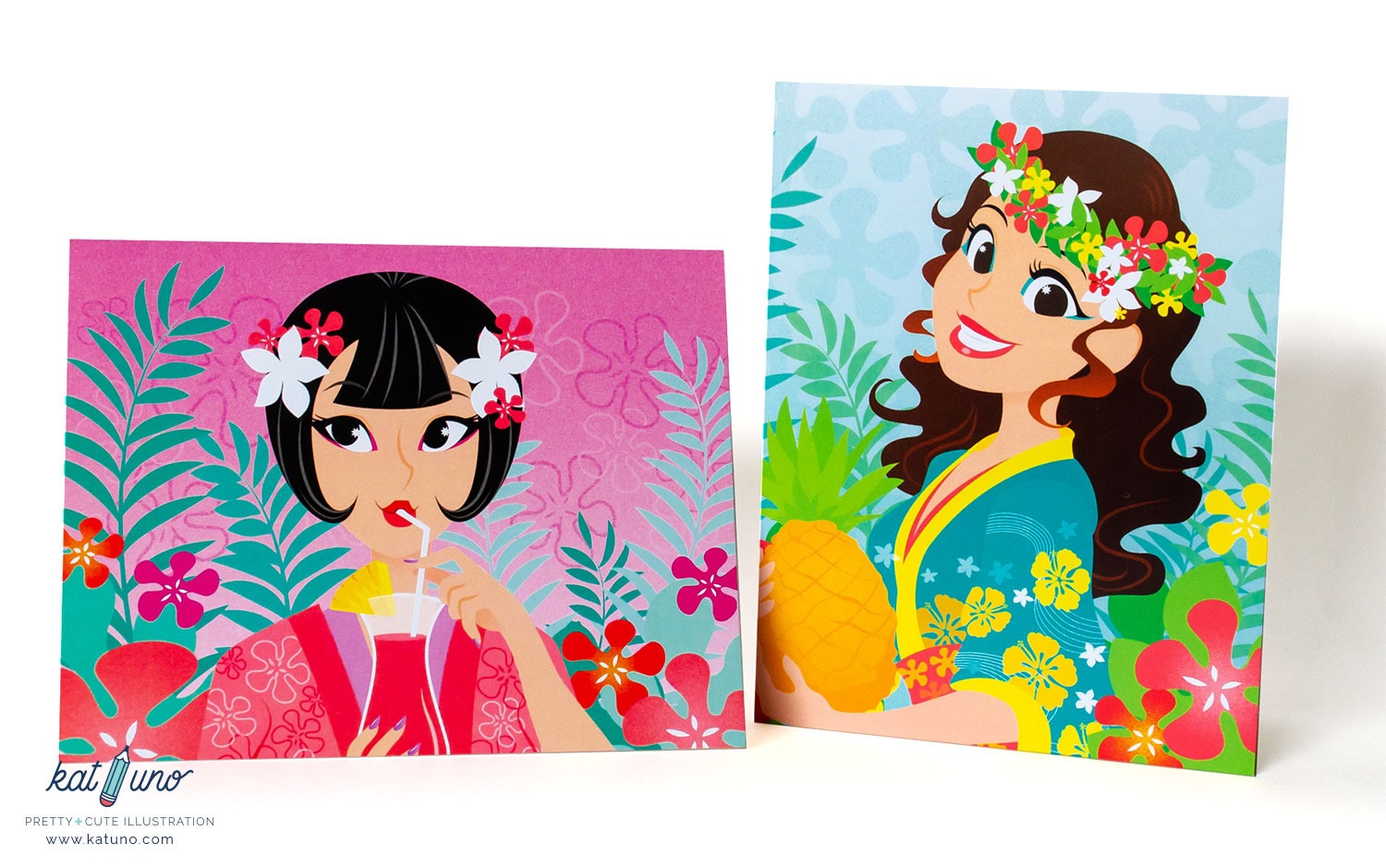tropical card set of 2