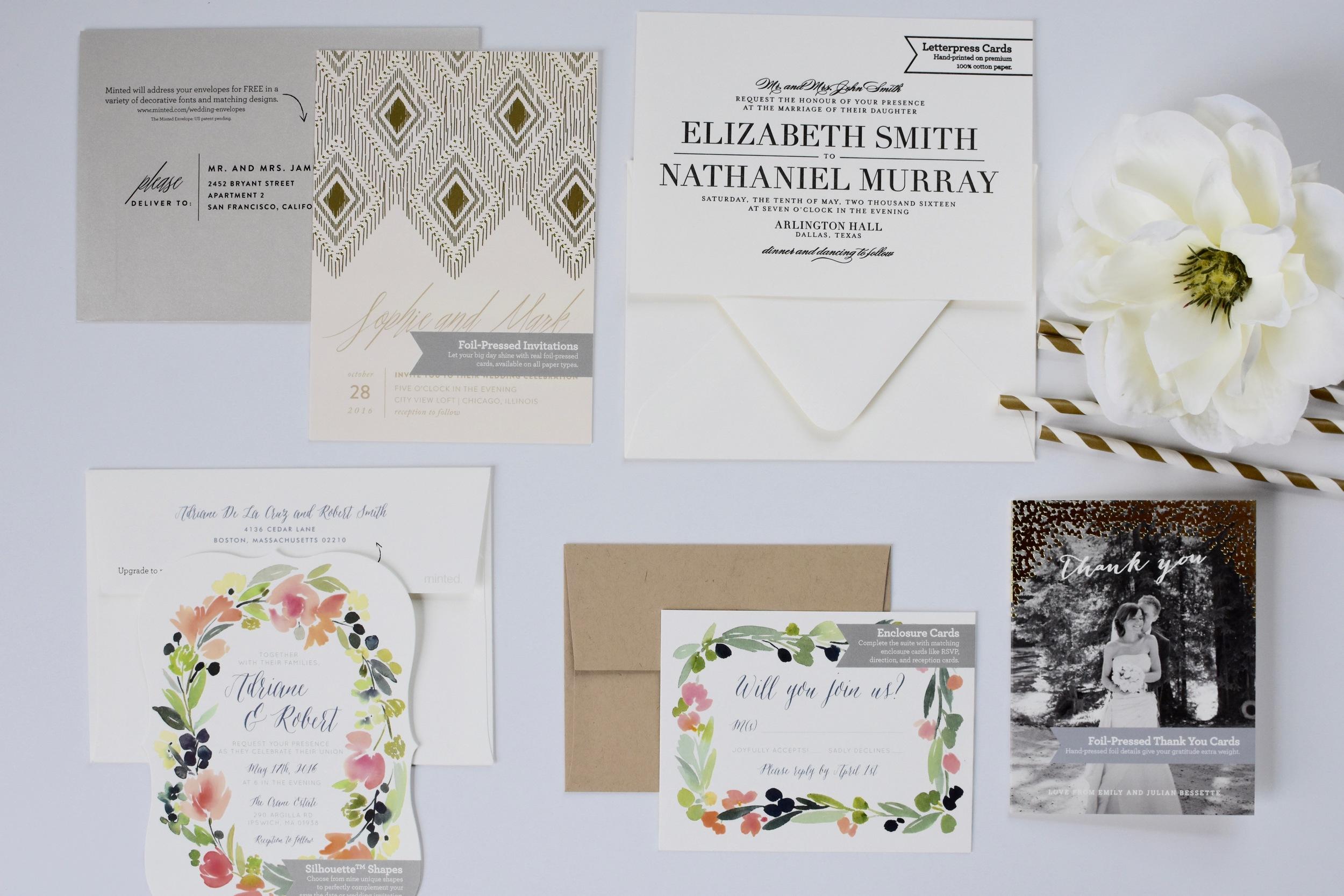 minted wedding invitation sample set