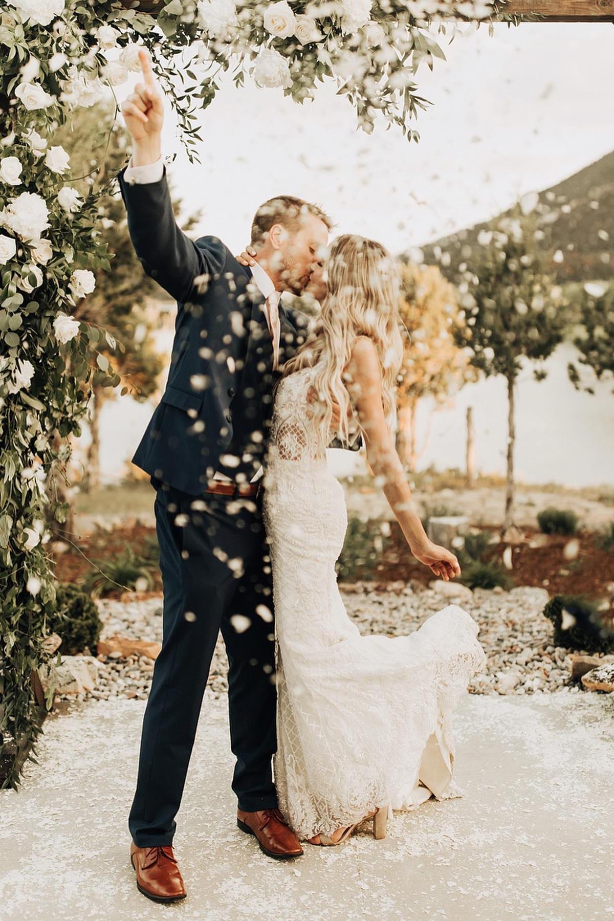 Cream and Green Mountain Wedding