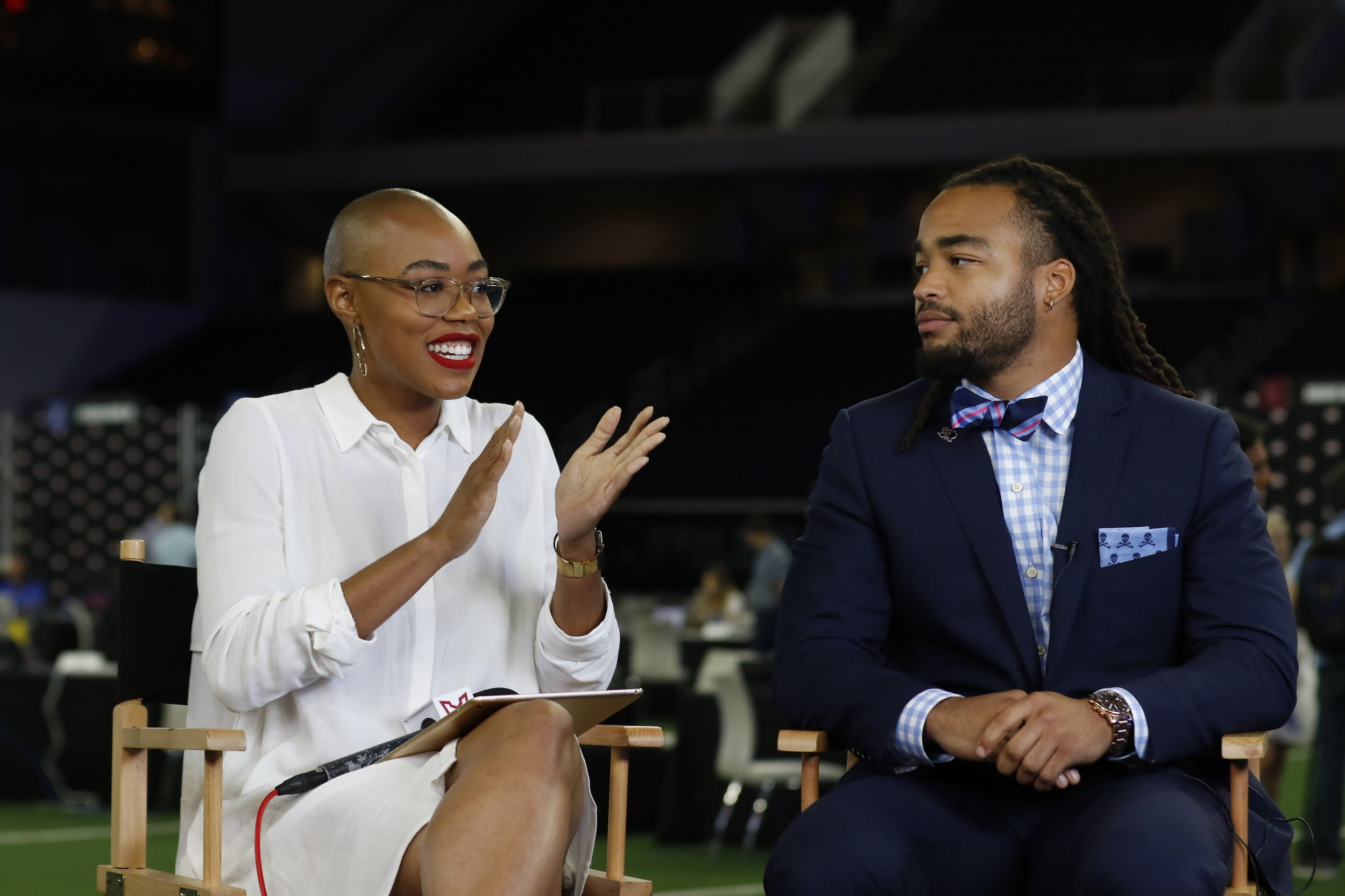 Texas Tech LB Dakota Allen and Big 12's Christine Williamson  _LPI1217.jpg