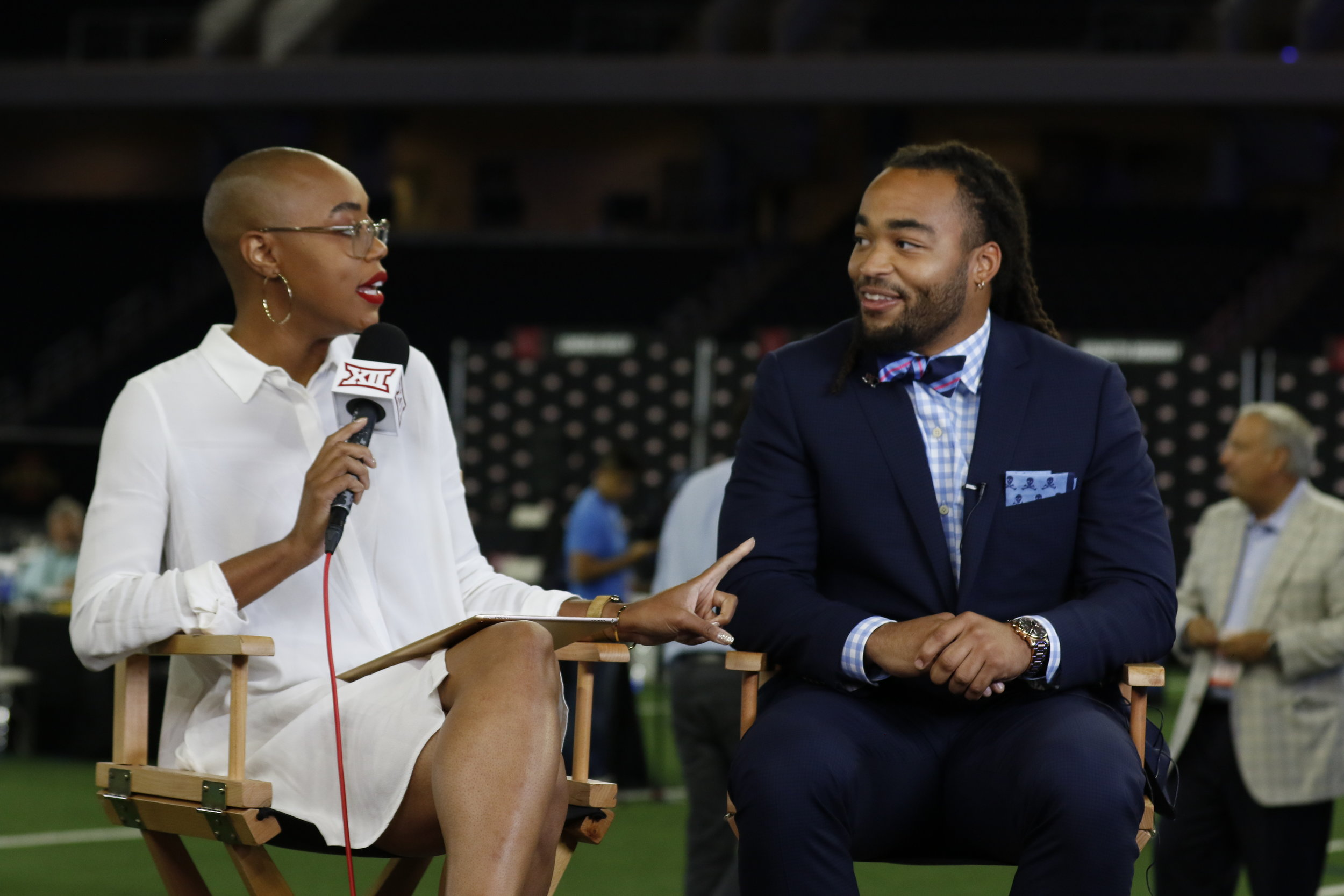 Texas Tech LB Dakota Allen and Big 12's Christine Williamson  _LPI1302.jpg