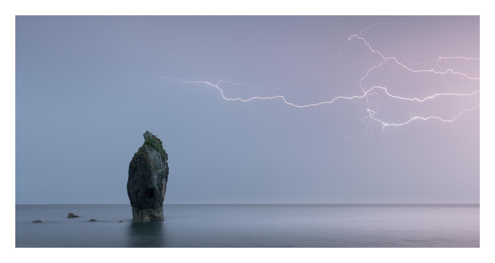 ballydowane beach lightning - ballydowane beach