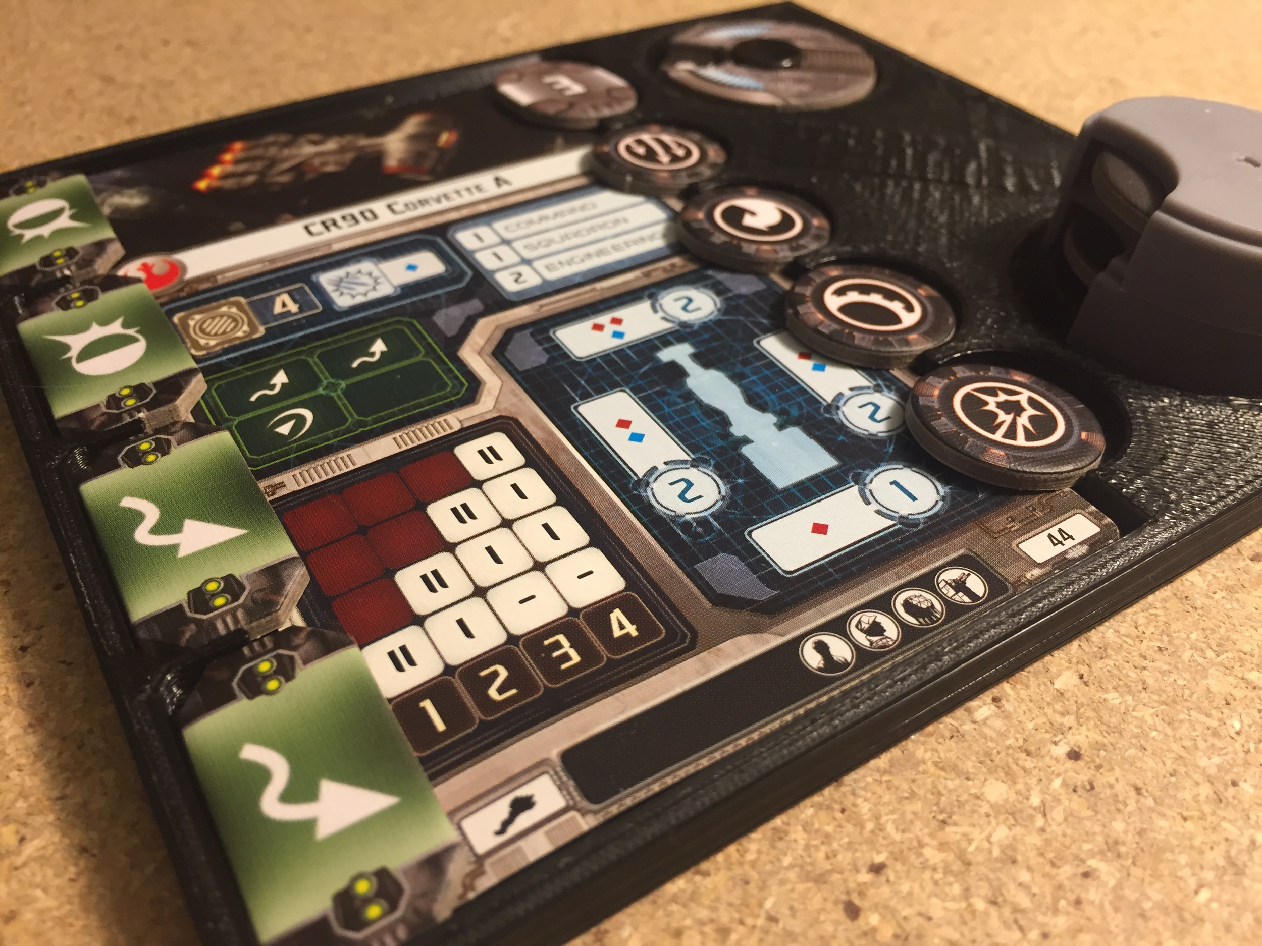 This is an early prototype of a ship card and token tray for Star Wars: Armada miniatures strategy game. I am exploring manufacturing options based on the interest of people who have seen it.