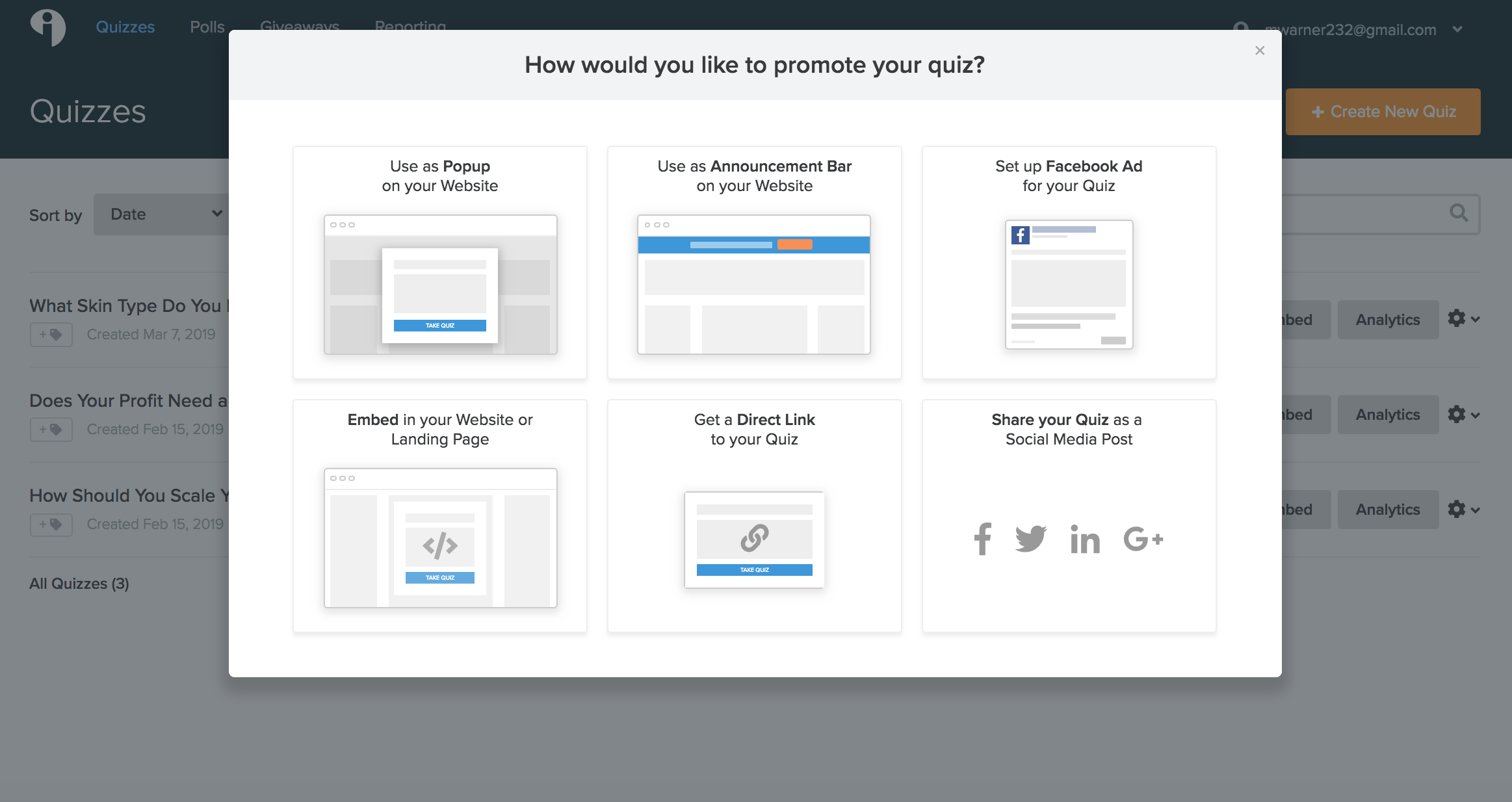 Interact gives you several easy ways to share + promote your quiz.