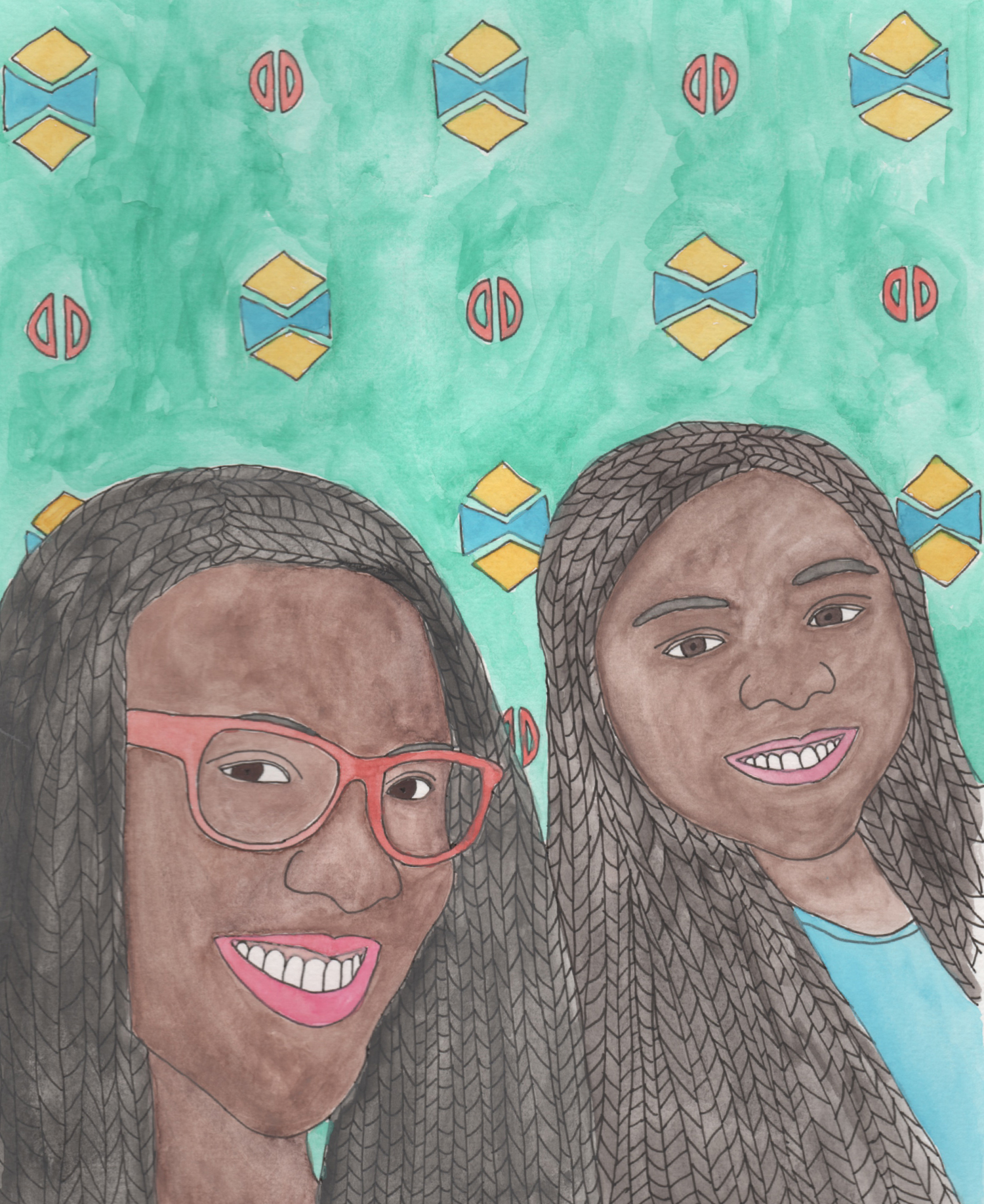 custom portrait illustration mother daughter stacey watercolor nicole stevenson studio.jpg