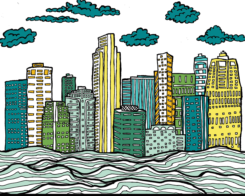 city sea ocean buildings drawing illustration nicole stevenson studio design drawing.jpg