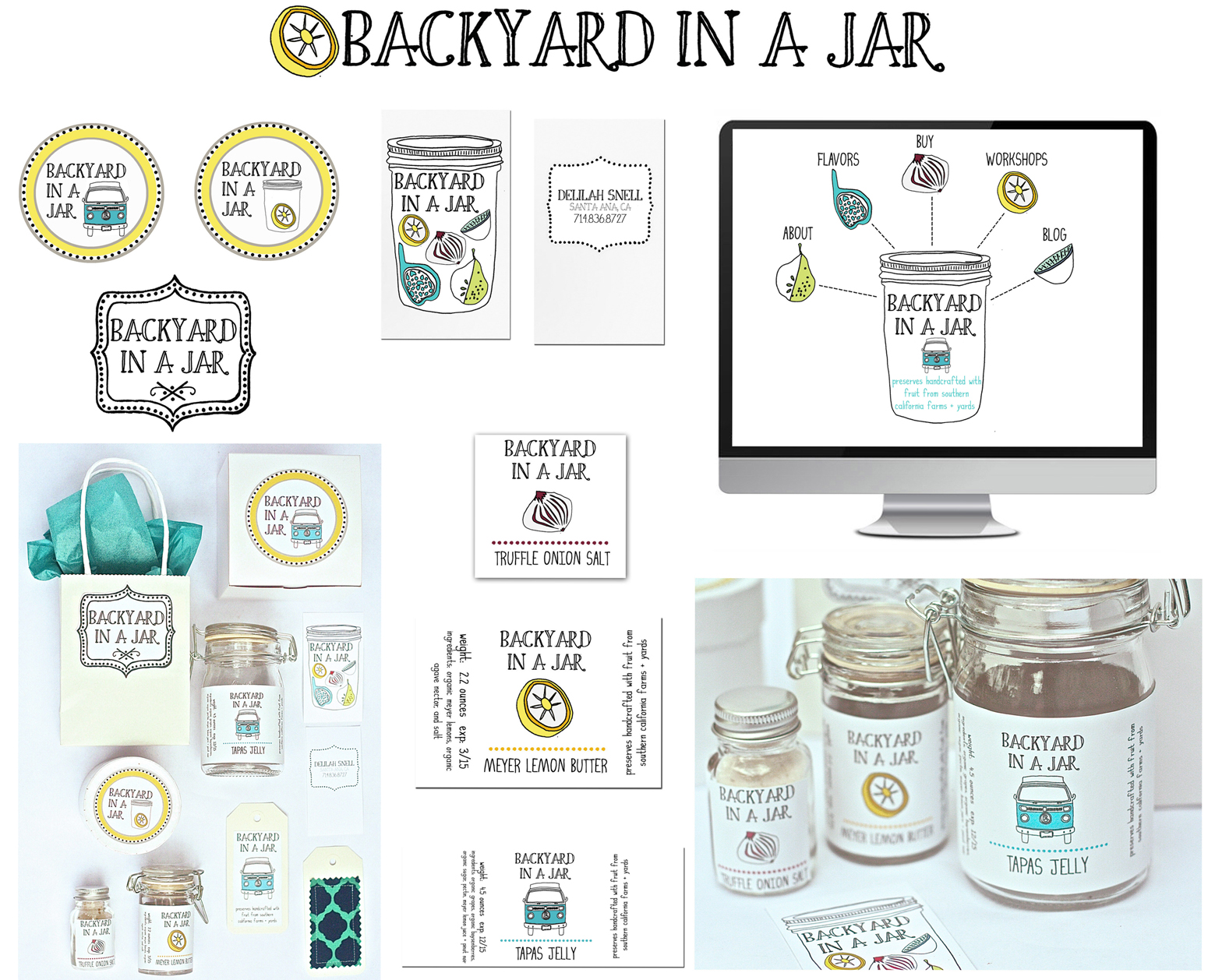 BACKYARD IN A JAR:  Preserves handcrafted from fruit gathered in Southern California backyards and farms  What I created:  Branding, identity, logo, web, packaging and hangtags.  Delilah Snell, the founder of Backyard in a Jar knows just about everyone in Orange County. Not only does she know them, but they invite her over to harvest their backyard offerings which often fell to ground before she hit the road in her 1970s Volkswagon bus to Southern California backyards for local produce to create her seasonal jams, preserves, jellies and more. It was essential to incorporate not just her love of seasonal harvesting but the integral part her VW bus plays in her business.