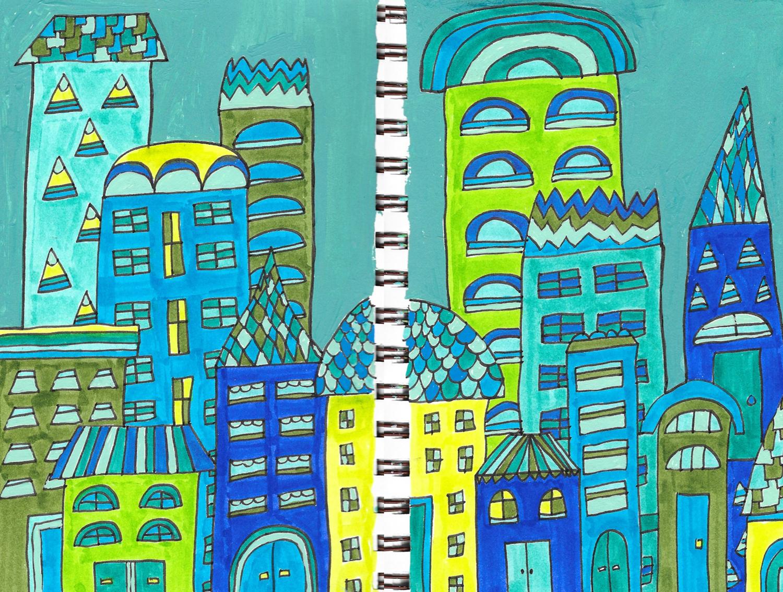 blue green city buildings drawing illustration nicole stevenson studio design drawing.jpg