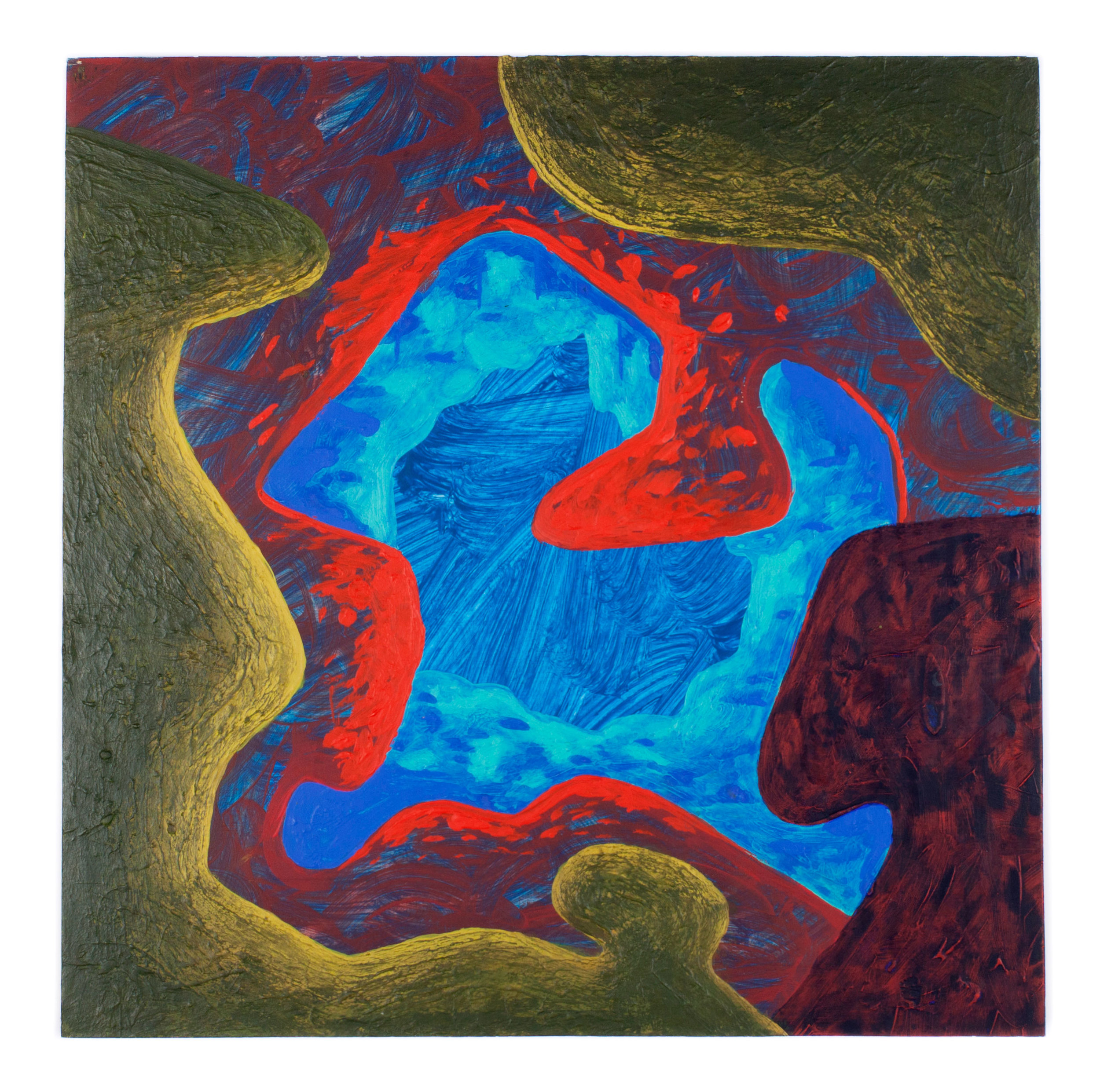 "Blue and red cave painting- 10x10"" Acrylic on Panel"