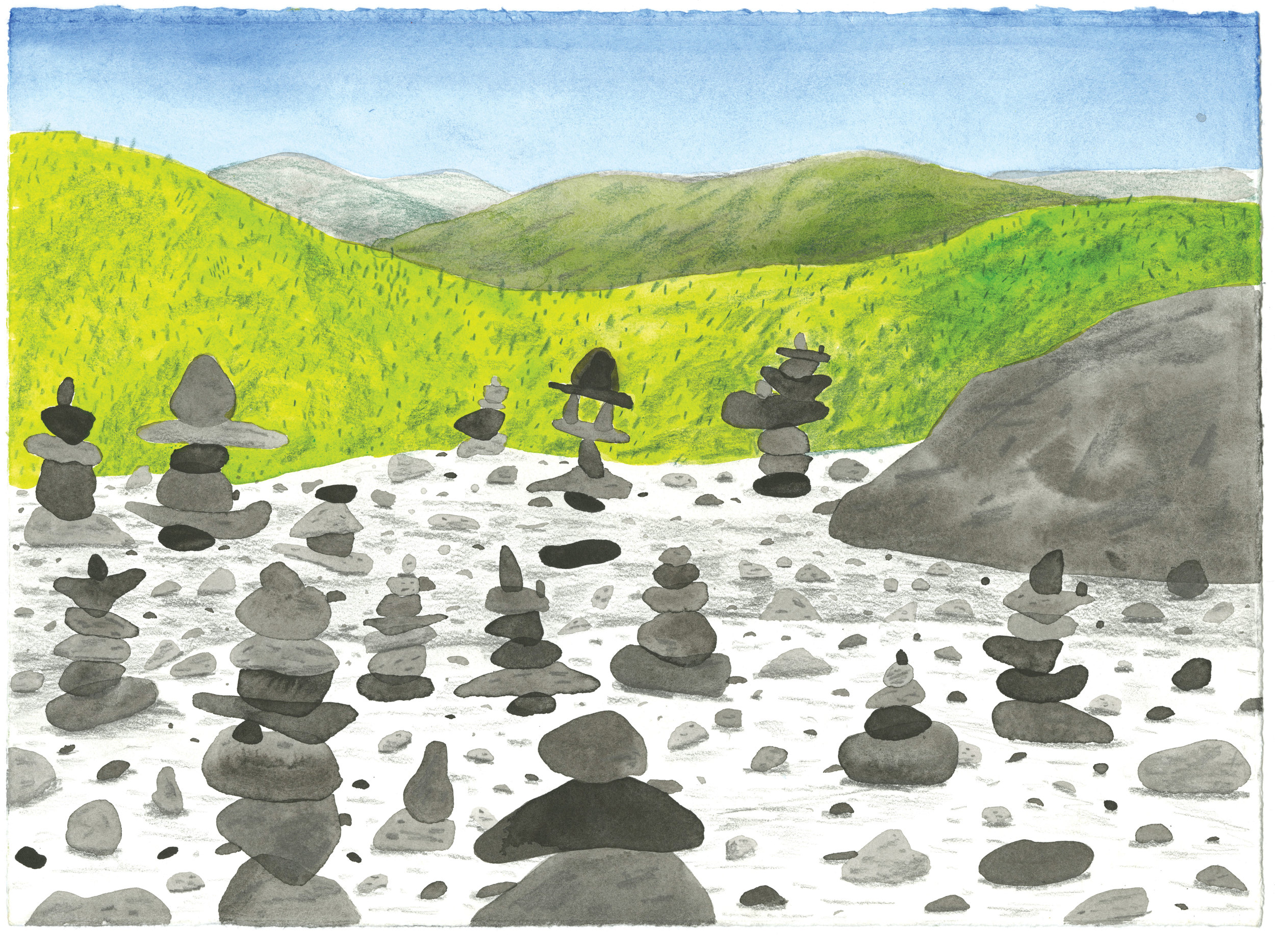 "Stacked rocks, 14X12"" Watercolor and colored pencil on paper."
