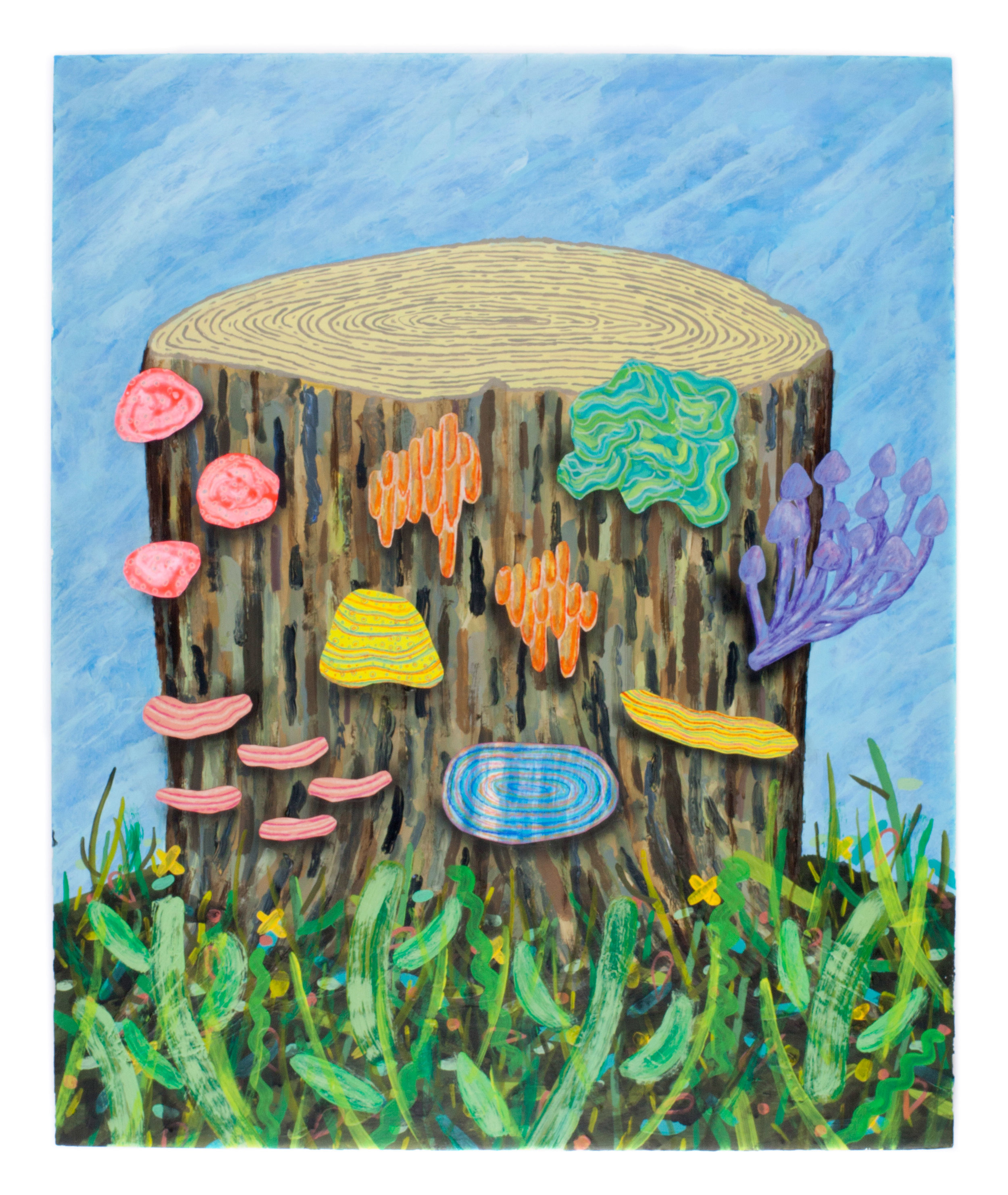 "Tree stump- 18x20"" Acylic,colored pencil, & paper on Panel"