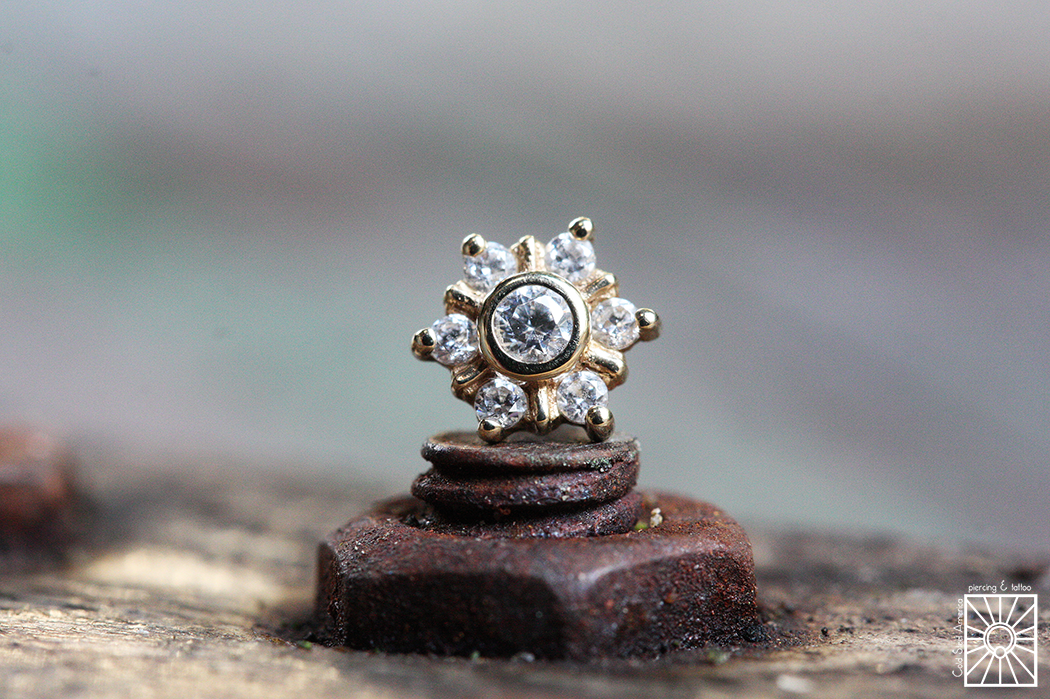"""14g solid Yellow Gold """"Mini Toltec"""" threaded end with clear cz's from Body Vision Los Angeles."""