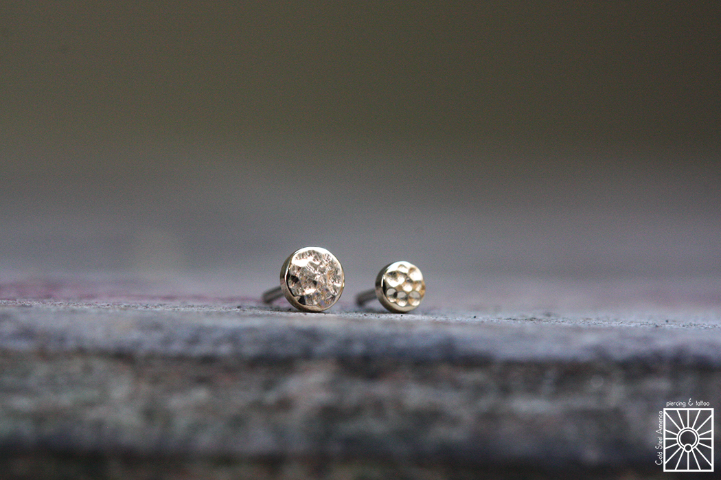 Solid Yellow Gold hammered disk push-pin ends from Body Vision Los Angeles.