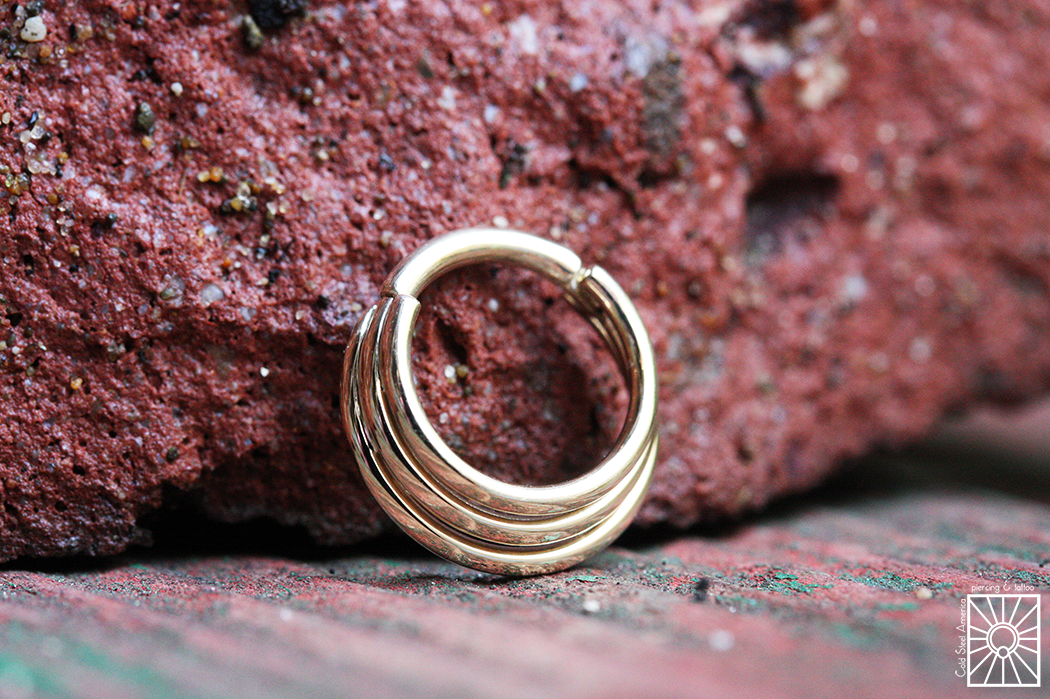 """Solid Yellow Gold """"Minimoody"""" hinged ring from Body Vision Los Angeles."""