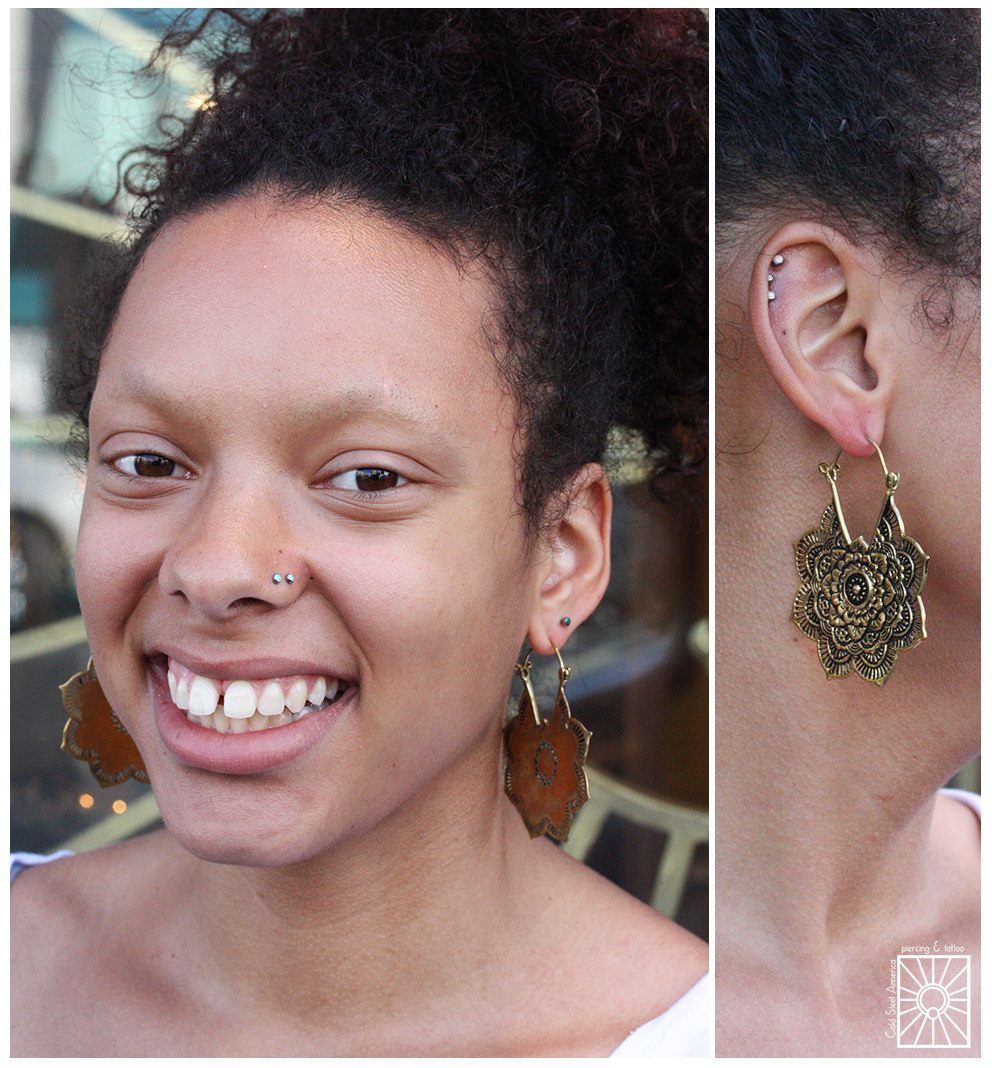 """This cute young lady picked up this beautiful set of brass """"Mandala"""" earrings from Buddha Jewelry Organics the other day, and we think they look so good on her!"""