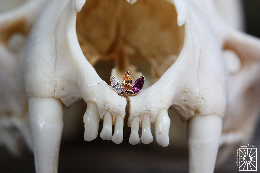 """Solid Rose Gold """"Marquise Fan"""" threaded end with a clear cz, champagne cz, and genuine Rhodolite from Body Vision Los Angeles."""