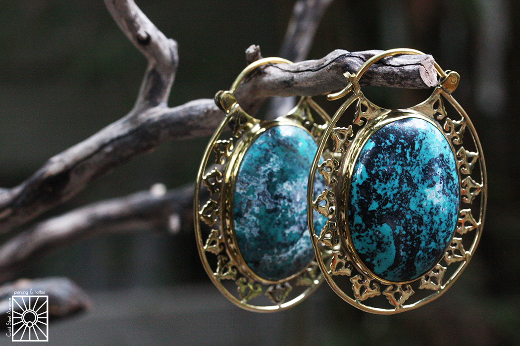 """Brass and Turquoise """"Isis Clasp"""" weights from Diablo Organics."""
