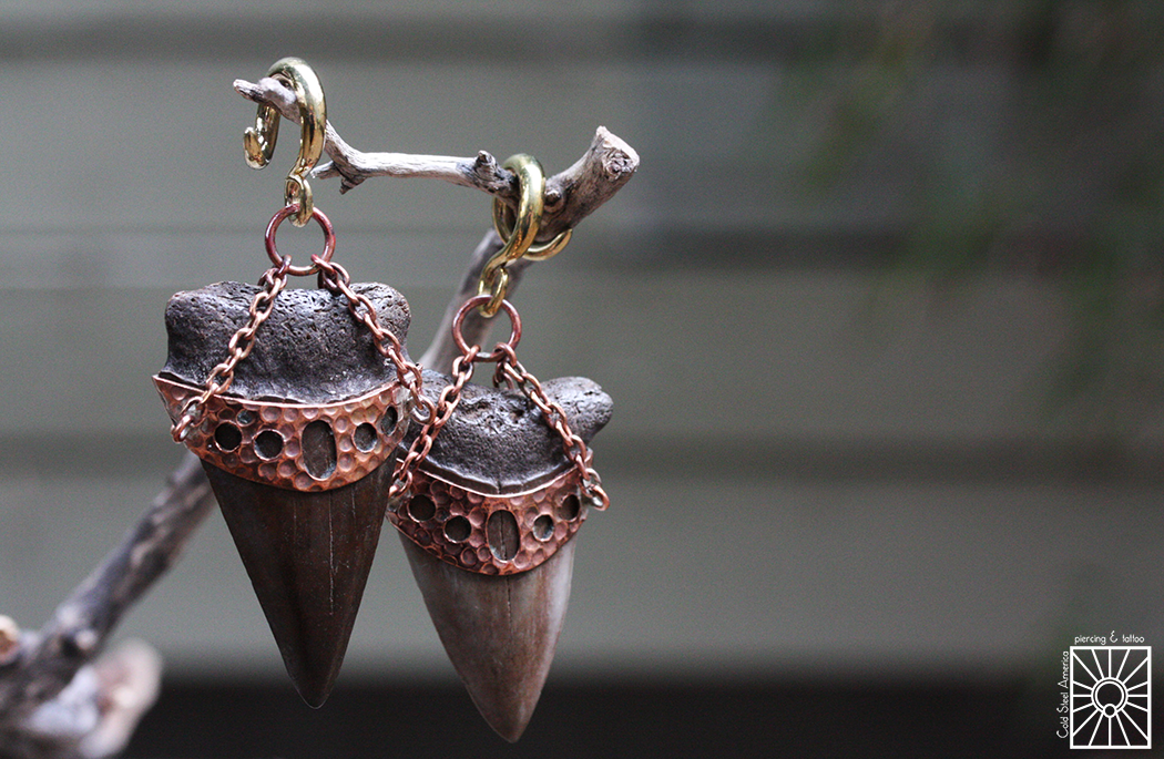 These beauties from Diablo Organics feature a Brass coil and Copper fittings, but the really fantastic element is the fossilized teeth of the Megalodon, a giant species of shark the went extinct about 2.6 million years ago!