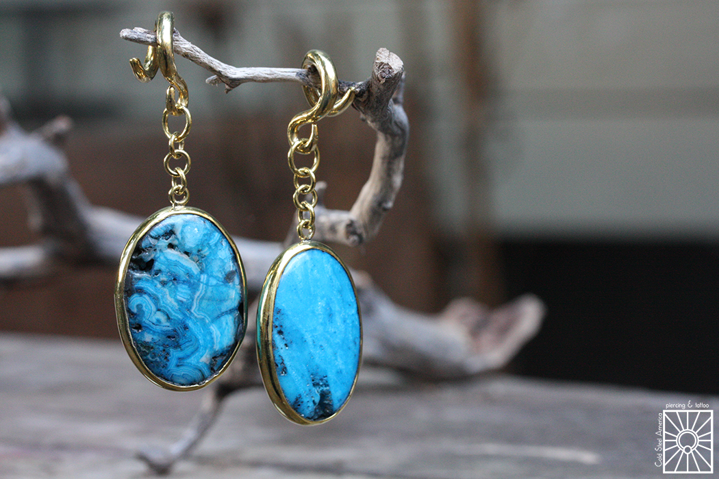 Brass and Blue Agate weights from Diablo Organics.