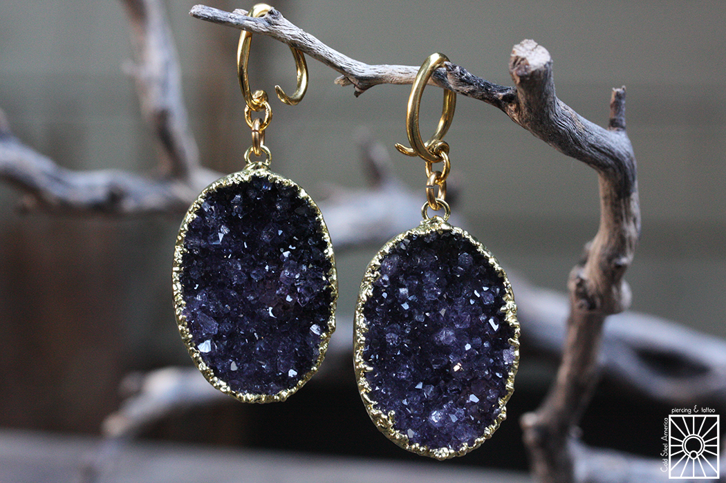 Brass and gold-dipped Amethyst druzy weights from Diablo Organics.