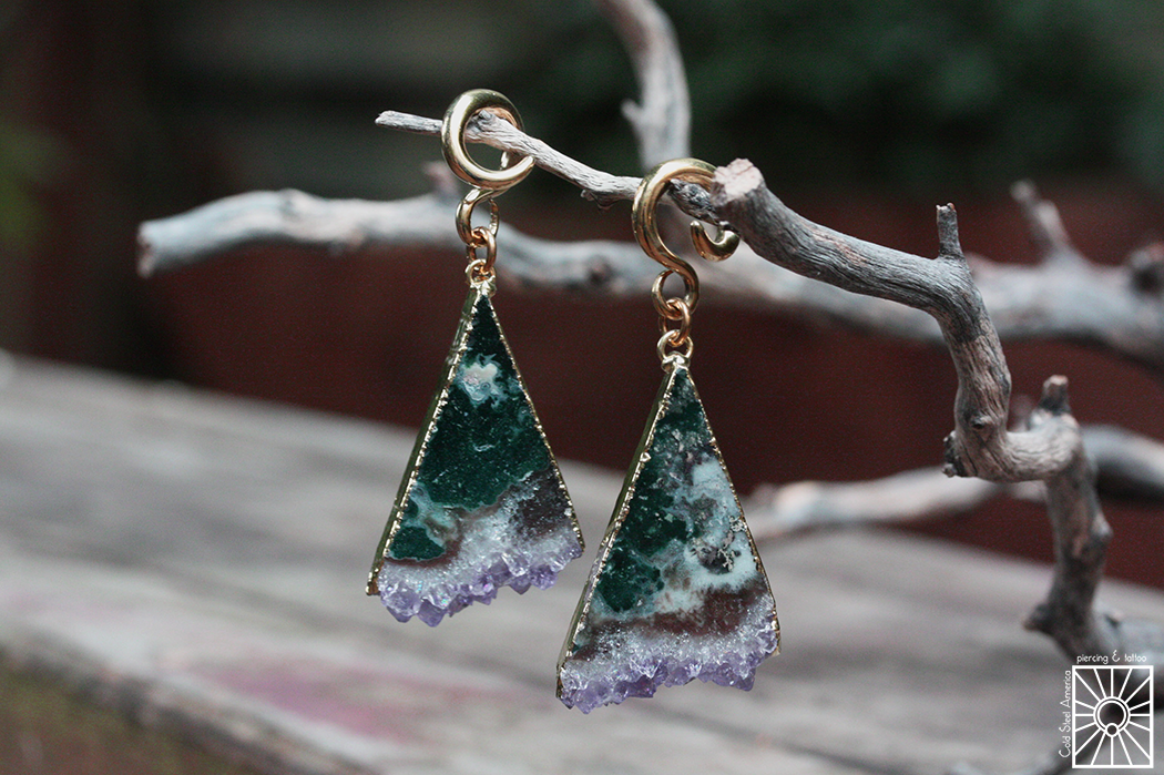 Brass and gold-dipped Amethyst weights from Diablo Organics.