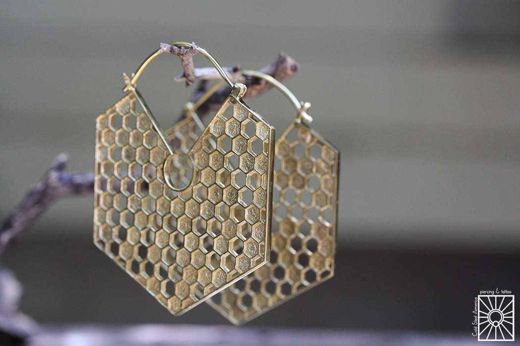 """Plated Yellow Gold """"Queen Bee"""" hoops from Buddha Jewelry Organics."""
