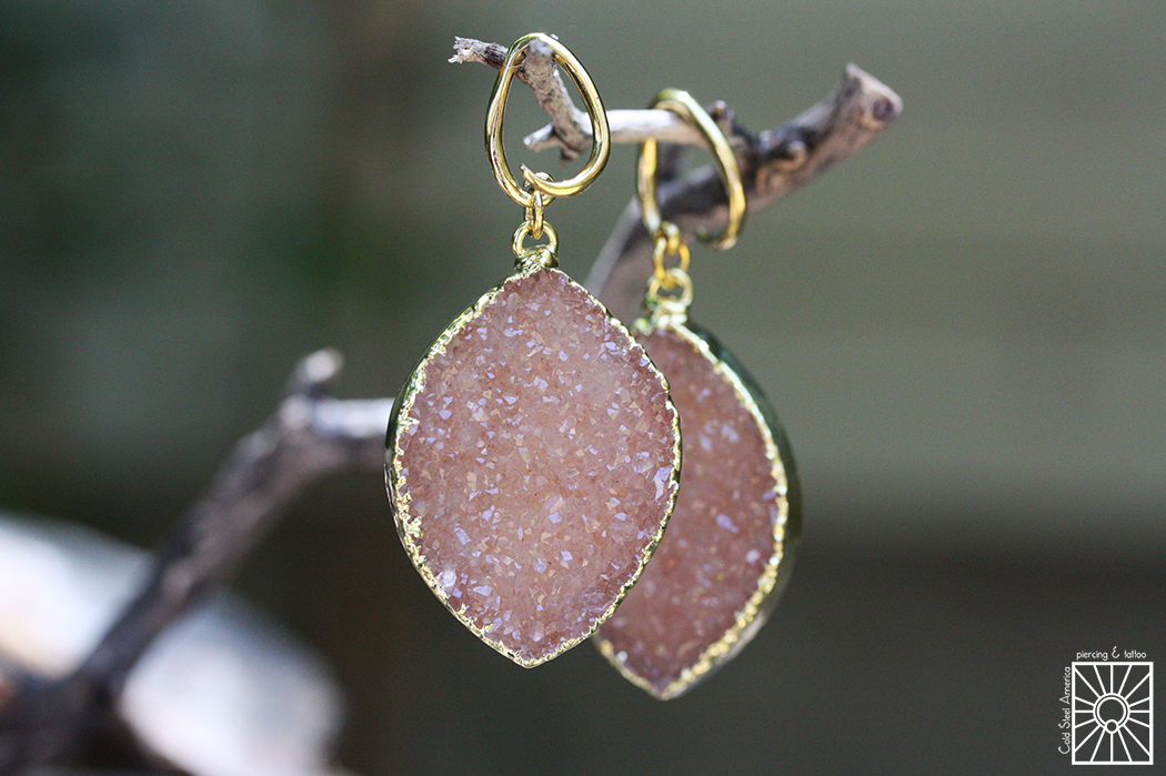 Brass and gold dipped Rose Quartz druzy weights from Diablo Organics.