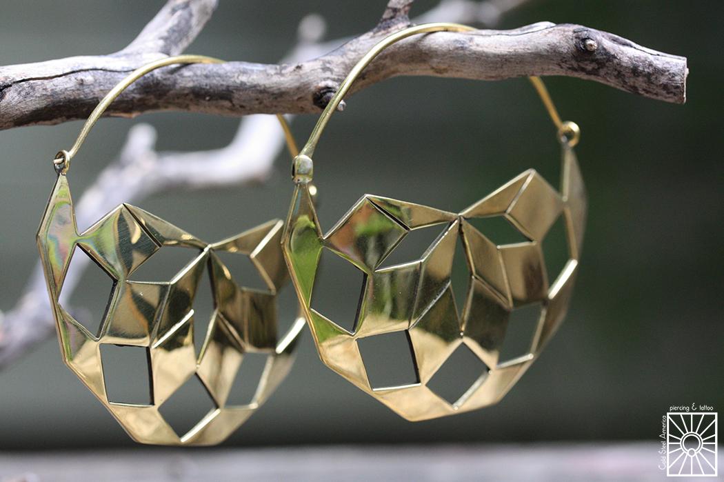 "Hand-cut Brass ""Mandala"" hoops from Diablo Organics."
