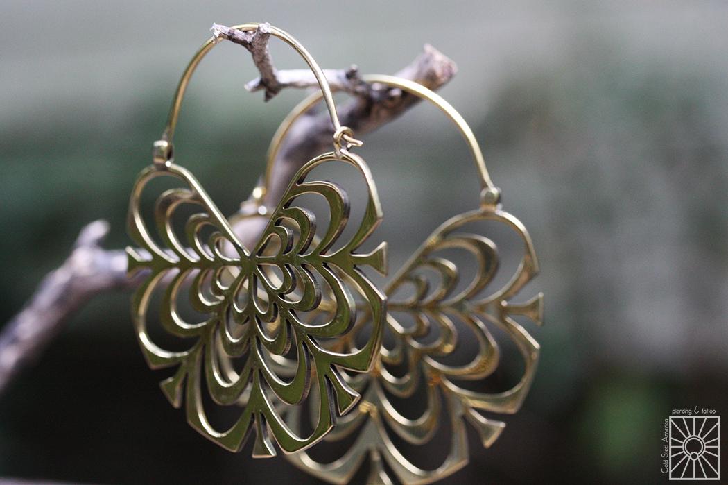 "Hand-cut Brass ""Peony"" hoops from Diablo Organics."