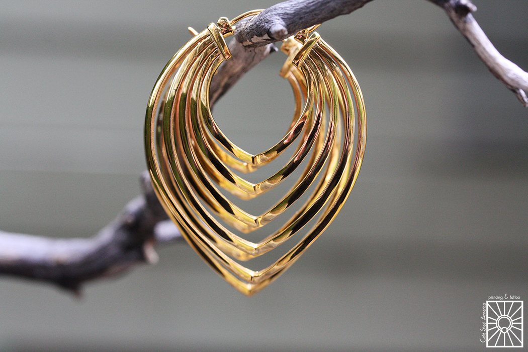 """Plated Yellow Gold """"Shapeshifter"""" earrings from Maya Jewelry."""