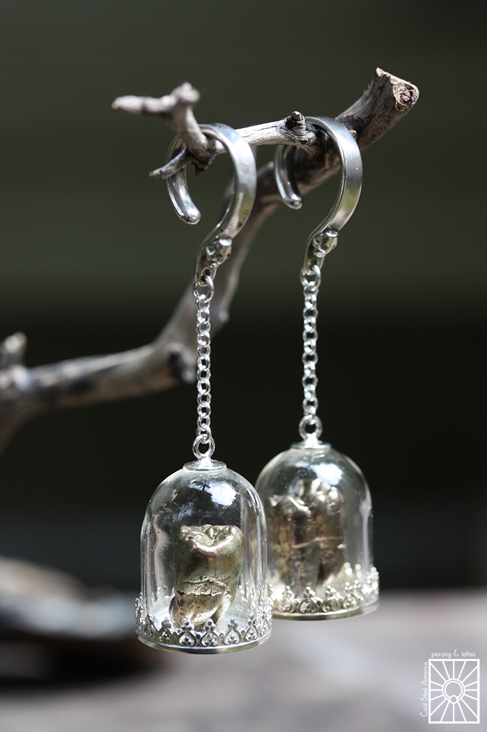 Silver weights with glass bell jar and Bronze cast tooth from Phoenix Revival.