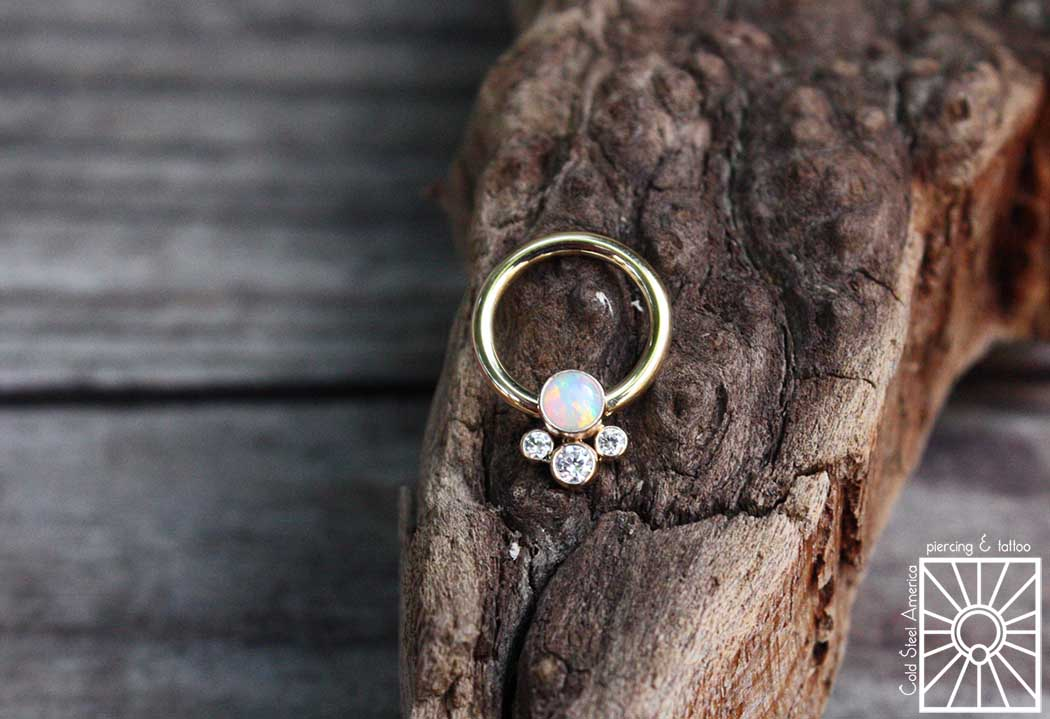 This gorgeous little piece is a 16g (1.2mm) solid 18k Yellow Gold captive ring with 4 gem cluster from Anatometal. This cutie is a custom order for a client in Canada, and her helix piercing is aboot to look pretty fancy, eh!