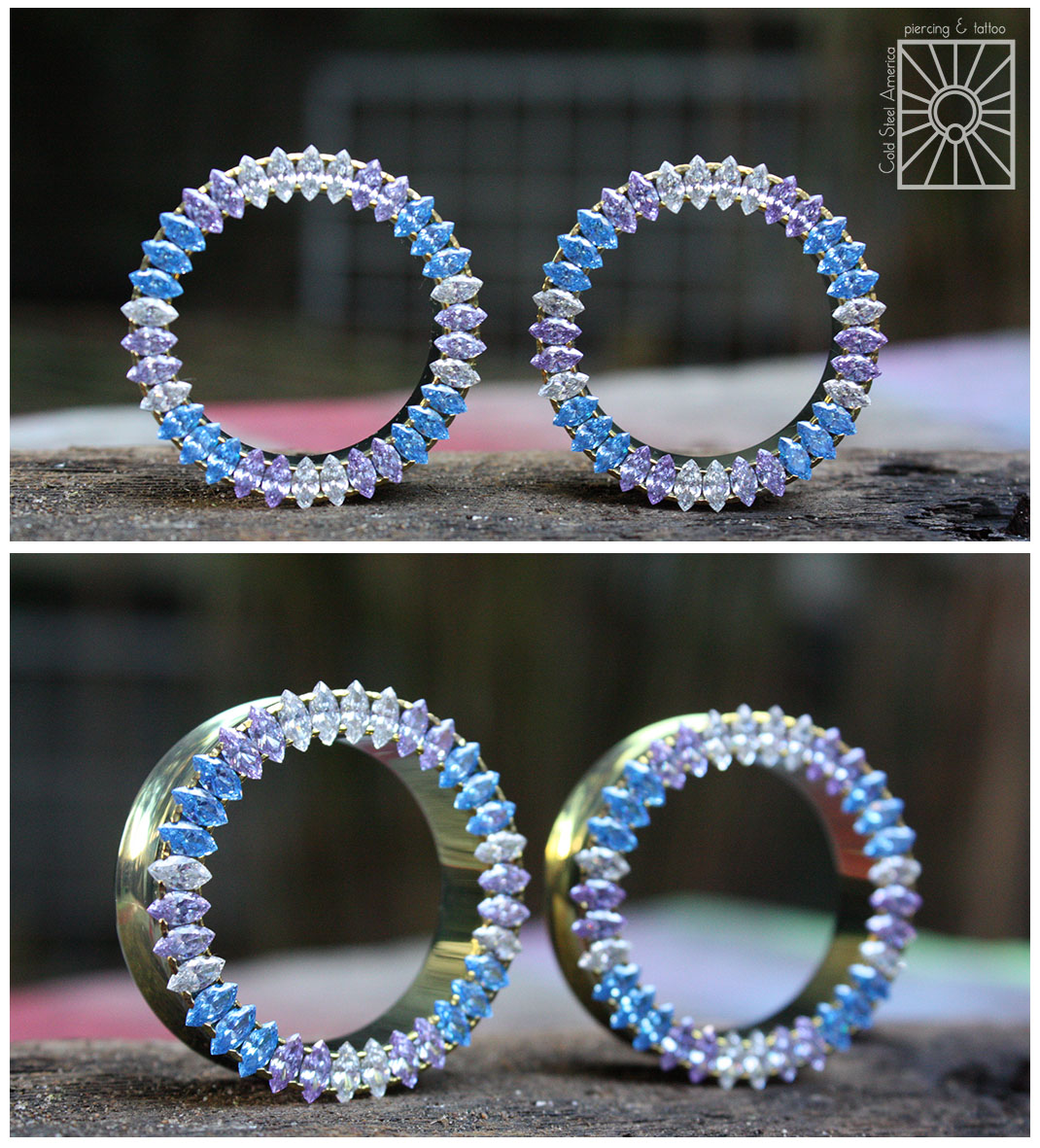 """We are not only proud to carry the impeccable jewelry crafted by Anatometal we also wear it! These 1 3/8"""" beauties with marquis-cut clear, arctic blue, and lavender cz's set in """"gold"""" anodized titanium are the envious new addition to the collection of our own Becky Dill."""