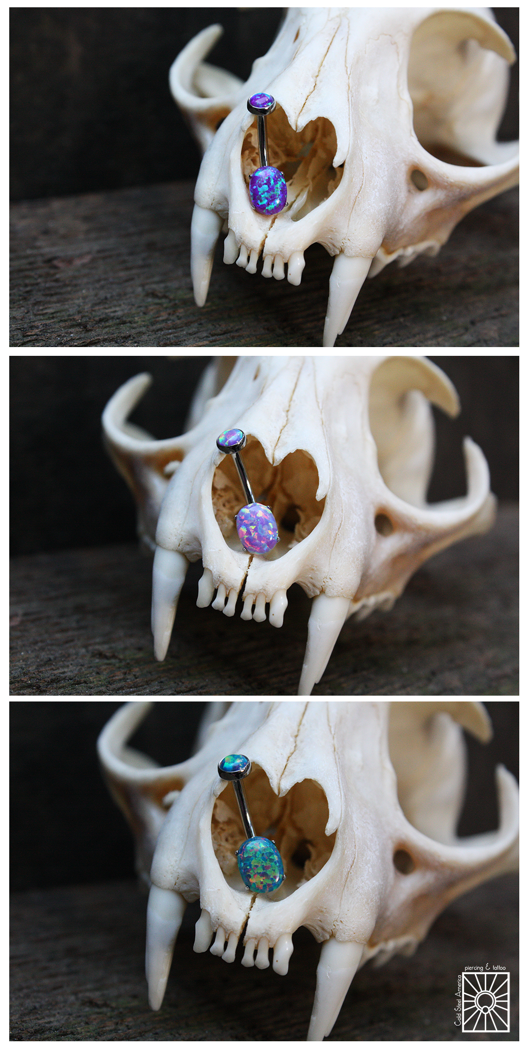 Titanium navel curves with oval-cut synthetic Purple, Lavender, and Teal Opals from Anatometal.